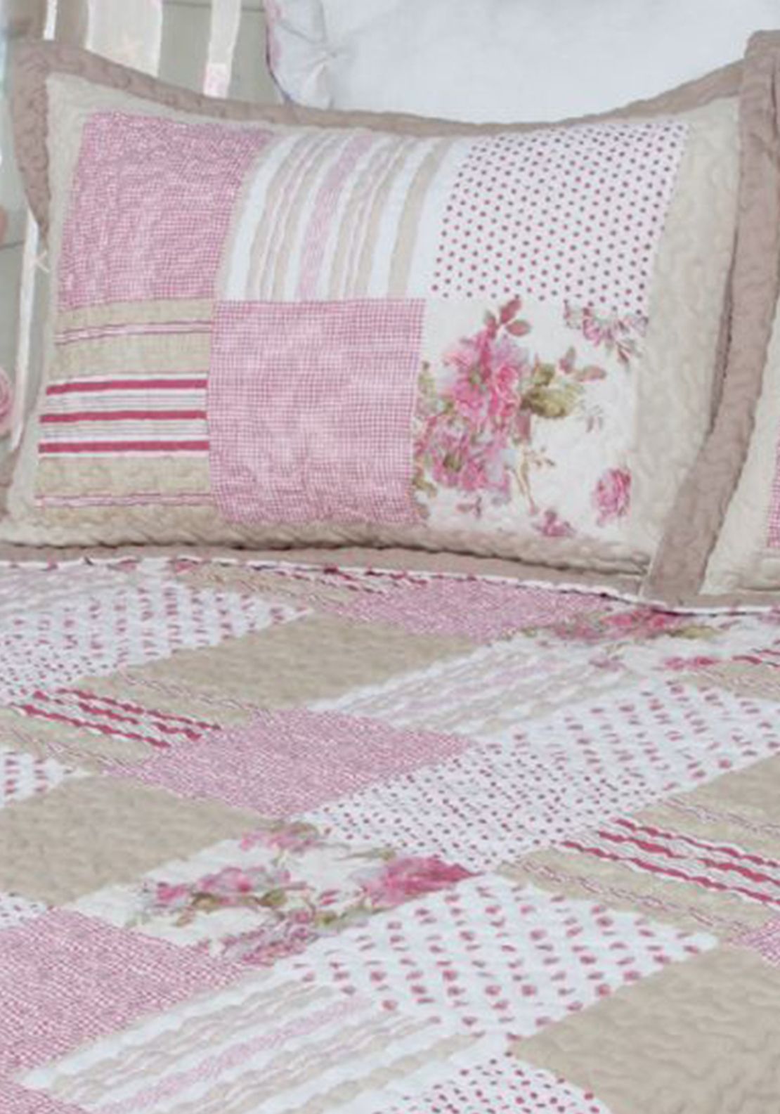 Cocoon Antique Rose Patchwork Pillow Sham, Pink Multi