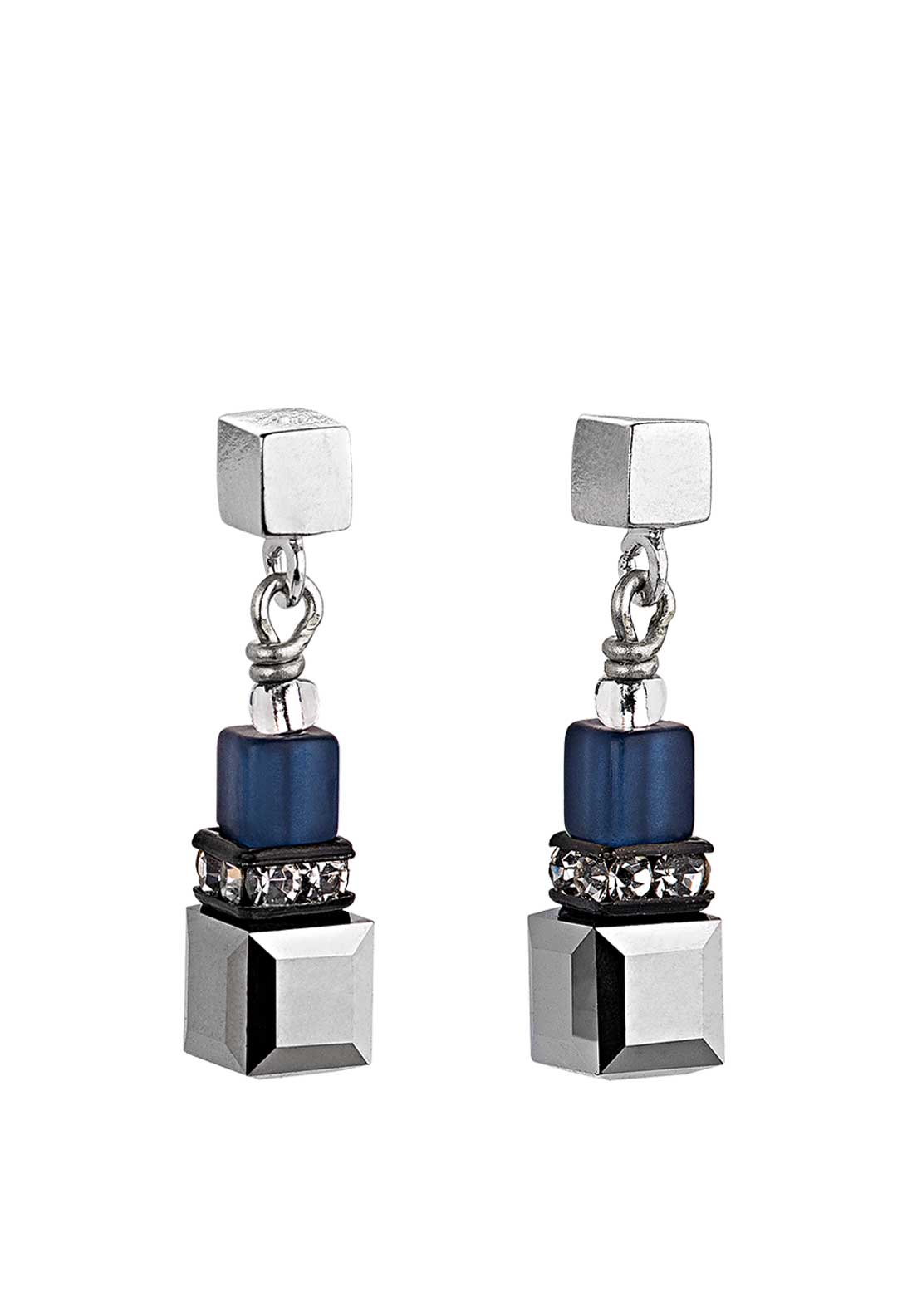 Coeur de Lion Geo Cube Earrings, Blue