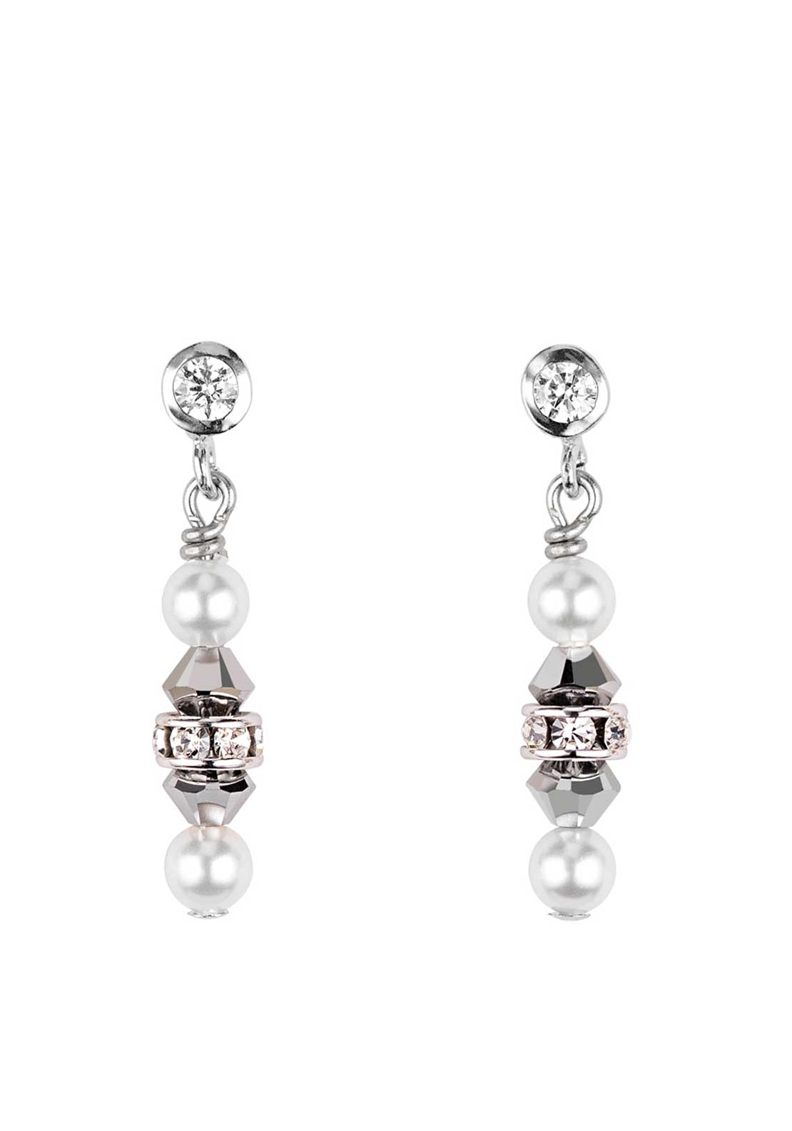 Coeur de Lion Swarovski Crystal Pearl Earrings, Silver