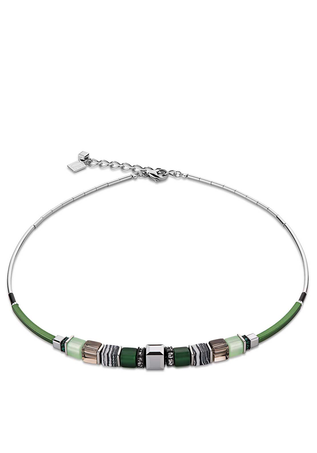 Coeur de Lion Geo Cube Necklace, Green