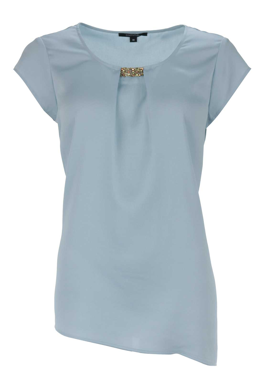 Comma Embellished Trim Cap Sleeve Top, Pale Blue