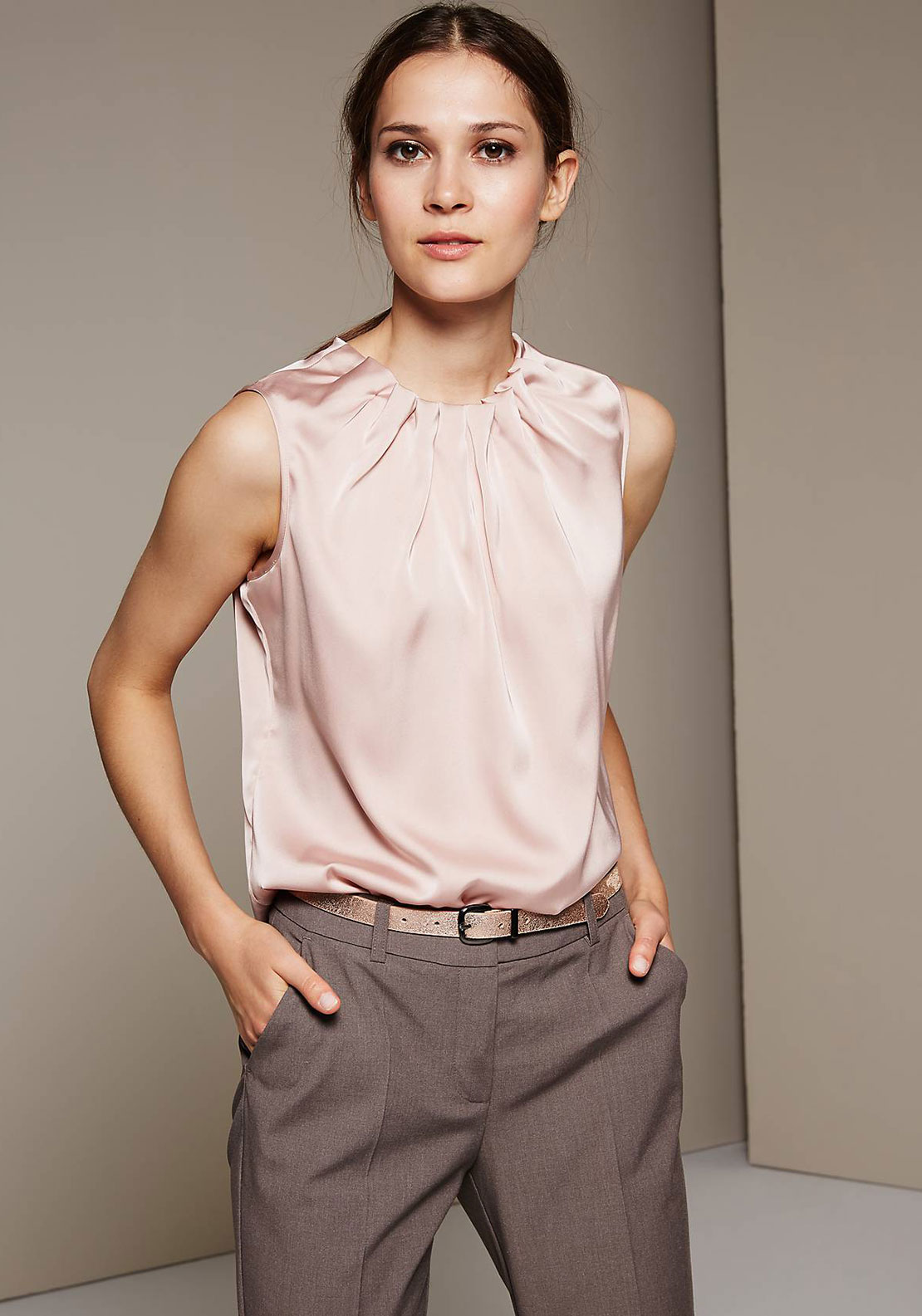 Comma Ruffle Neck Sleeveless Top, Blush Pink