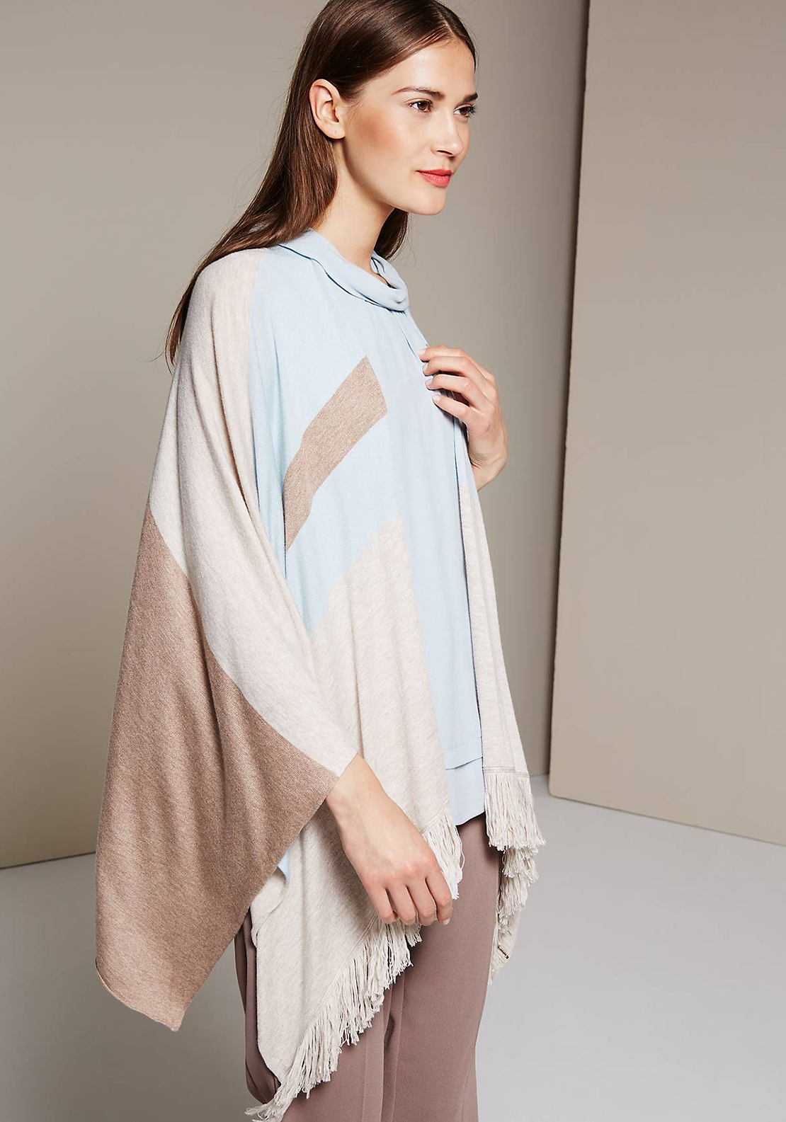 Comma Striped One Size Poncho Cardigan, Taupe and Blue