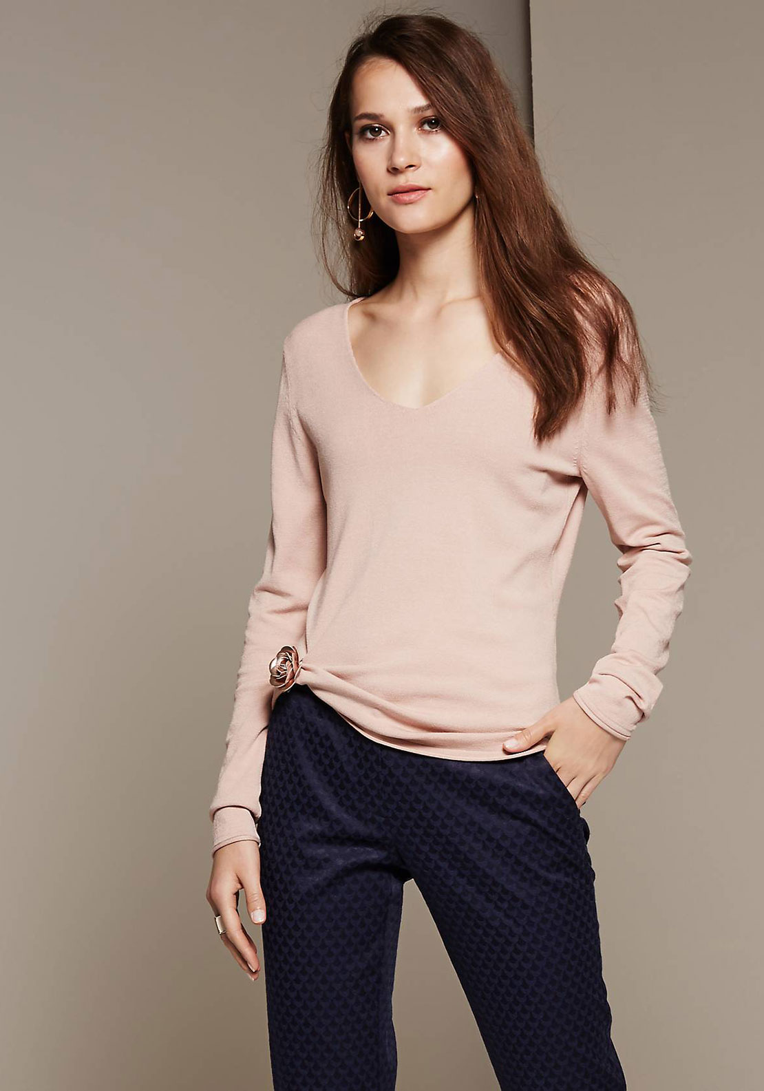 Comma V-Neck Fine Knit Jumper, Blush Pink
