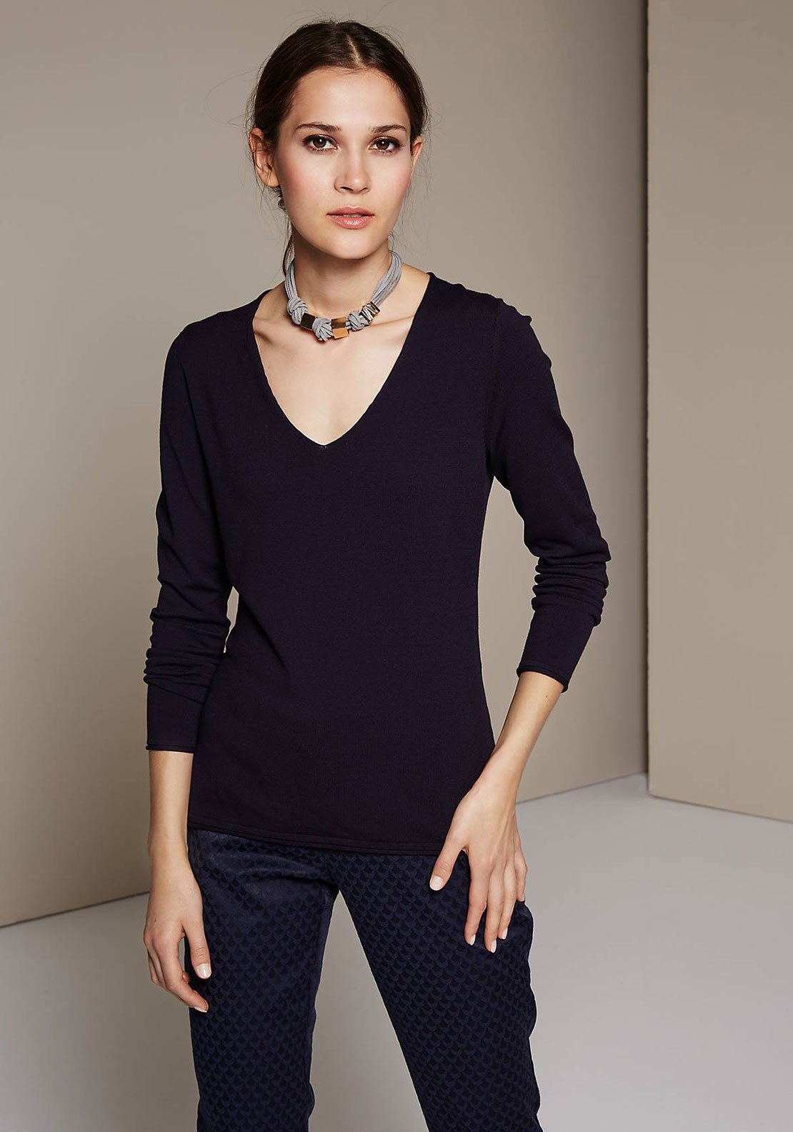 Comma V-Neck Fine Knit Jumper, Navy
