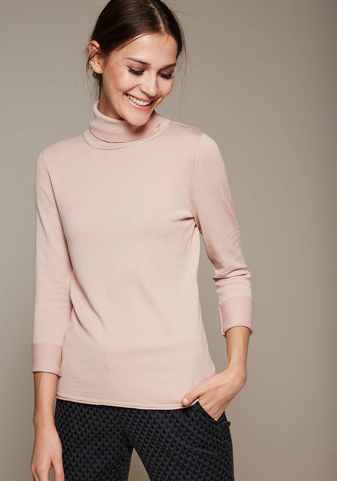 Comma Fine Knit Polo Neck Jumper, Blush Pink
