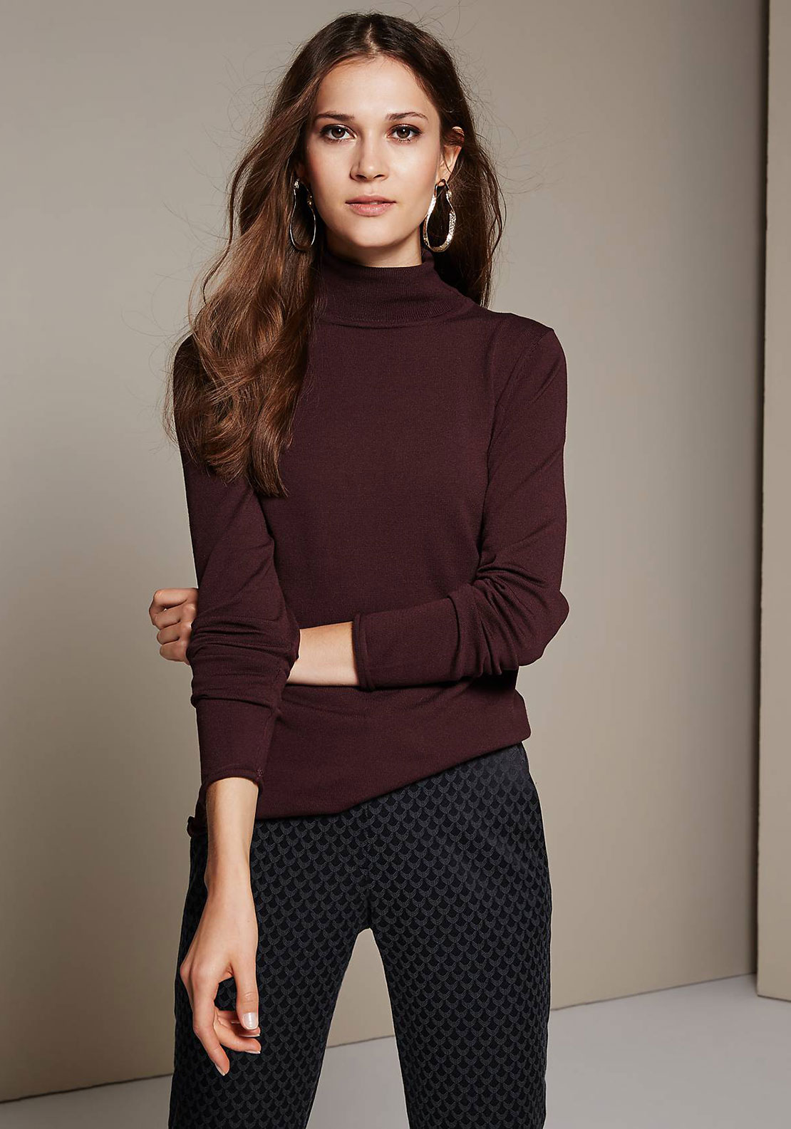 Comma Fine Knit Polo Neck Jumper, Deep Wine