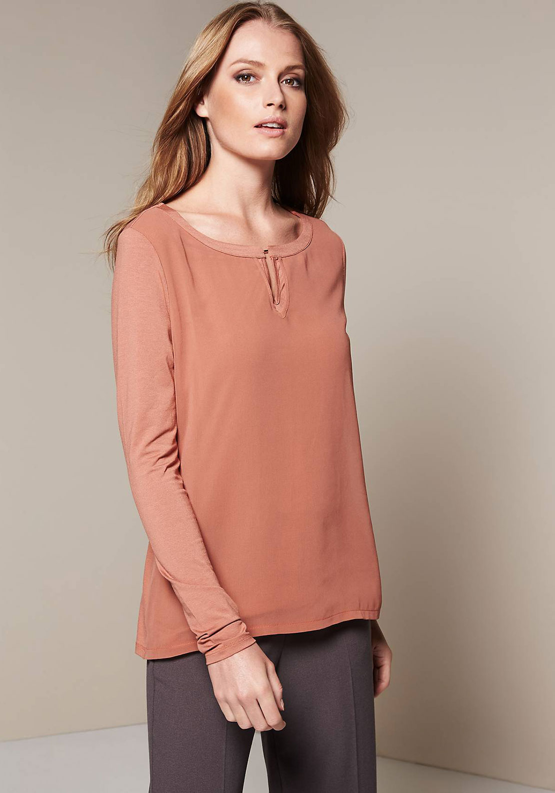 Comma Chiffon Overlay Long Sleeve Top, Rust