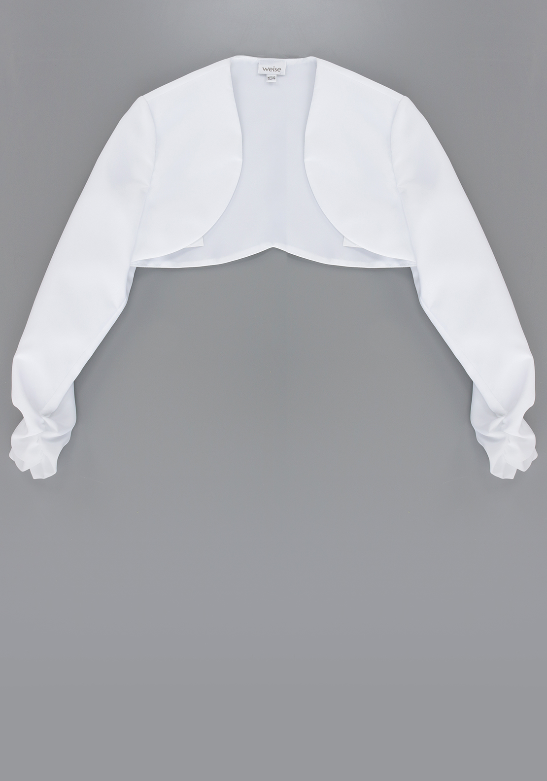 Emmerling Satin Ruched Sleeve Bolero, White