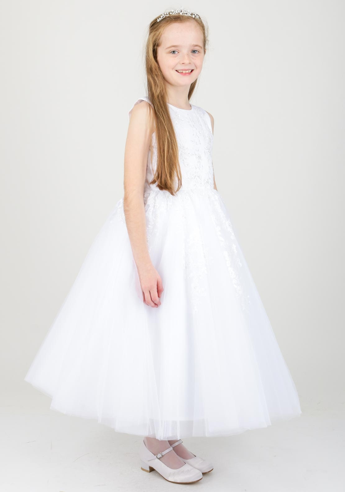 Joan Calabrese Embellished Tulle Communion Dress, White