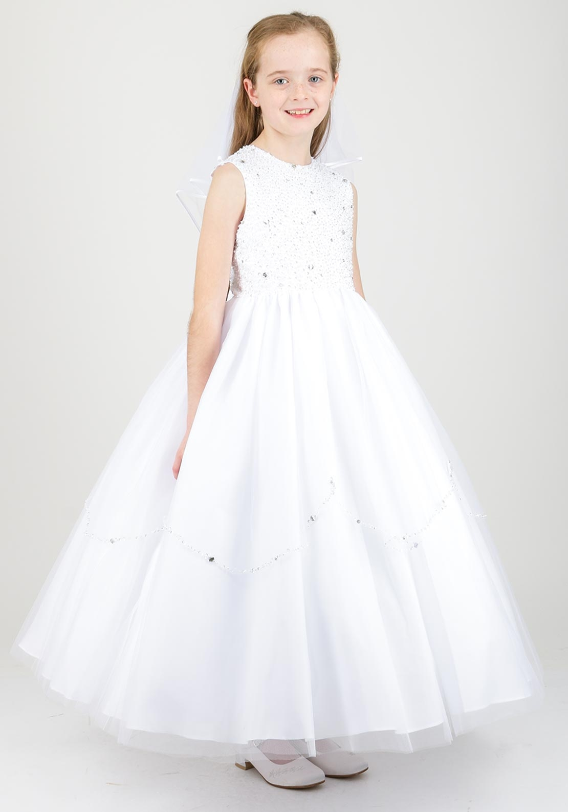 Little People Diamante Embellished Communion Dress, White