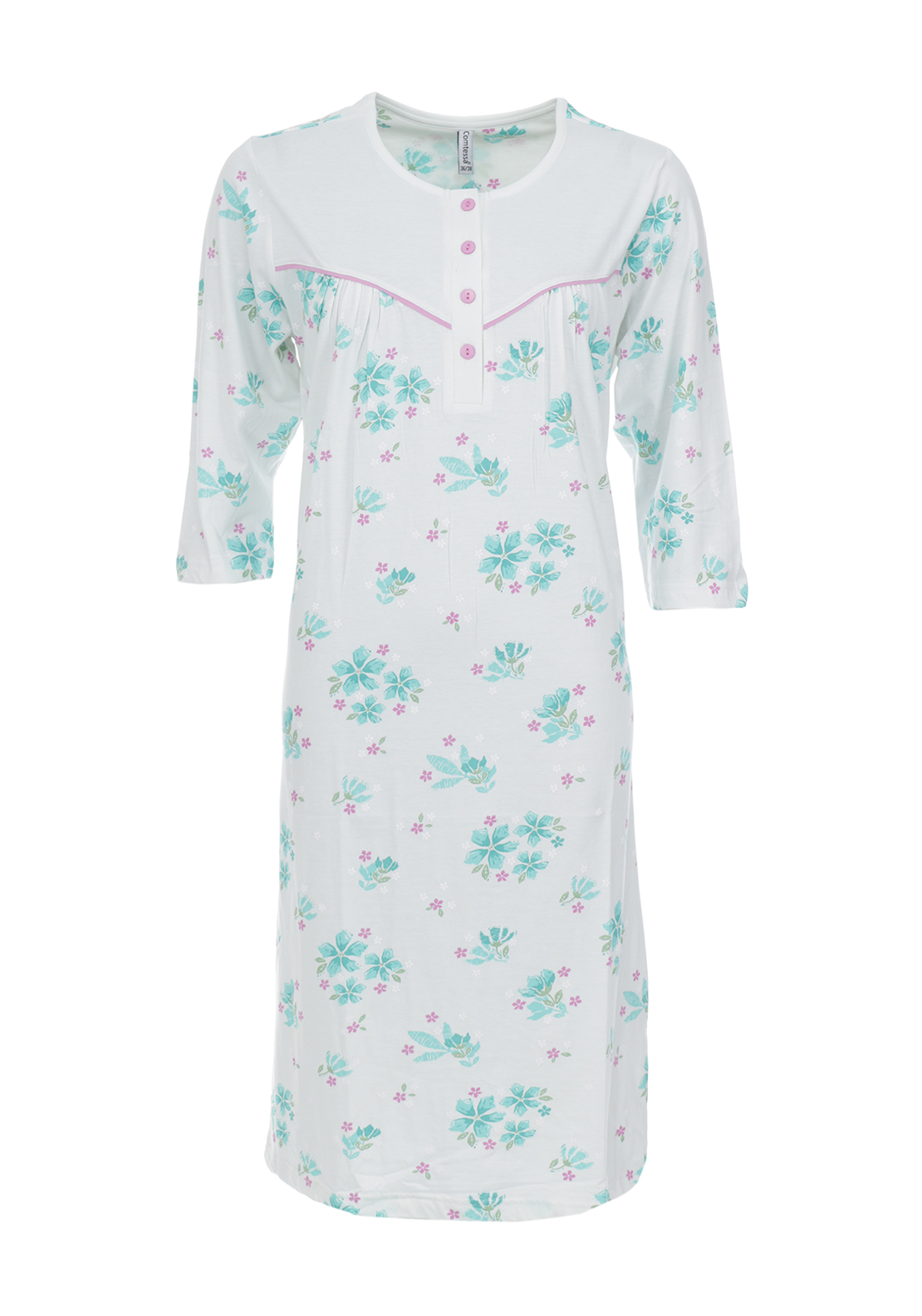 Comtessa Floral Print Cropped Sleeve Nightdress, Blue