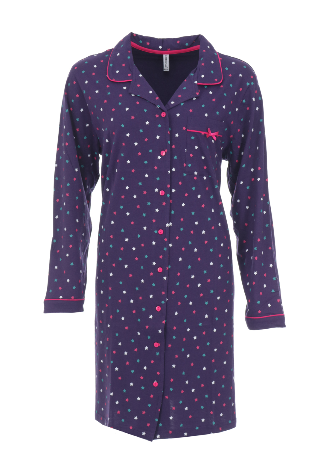 Comtessa Star Print Nightdress, Purple