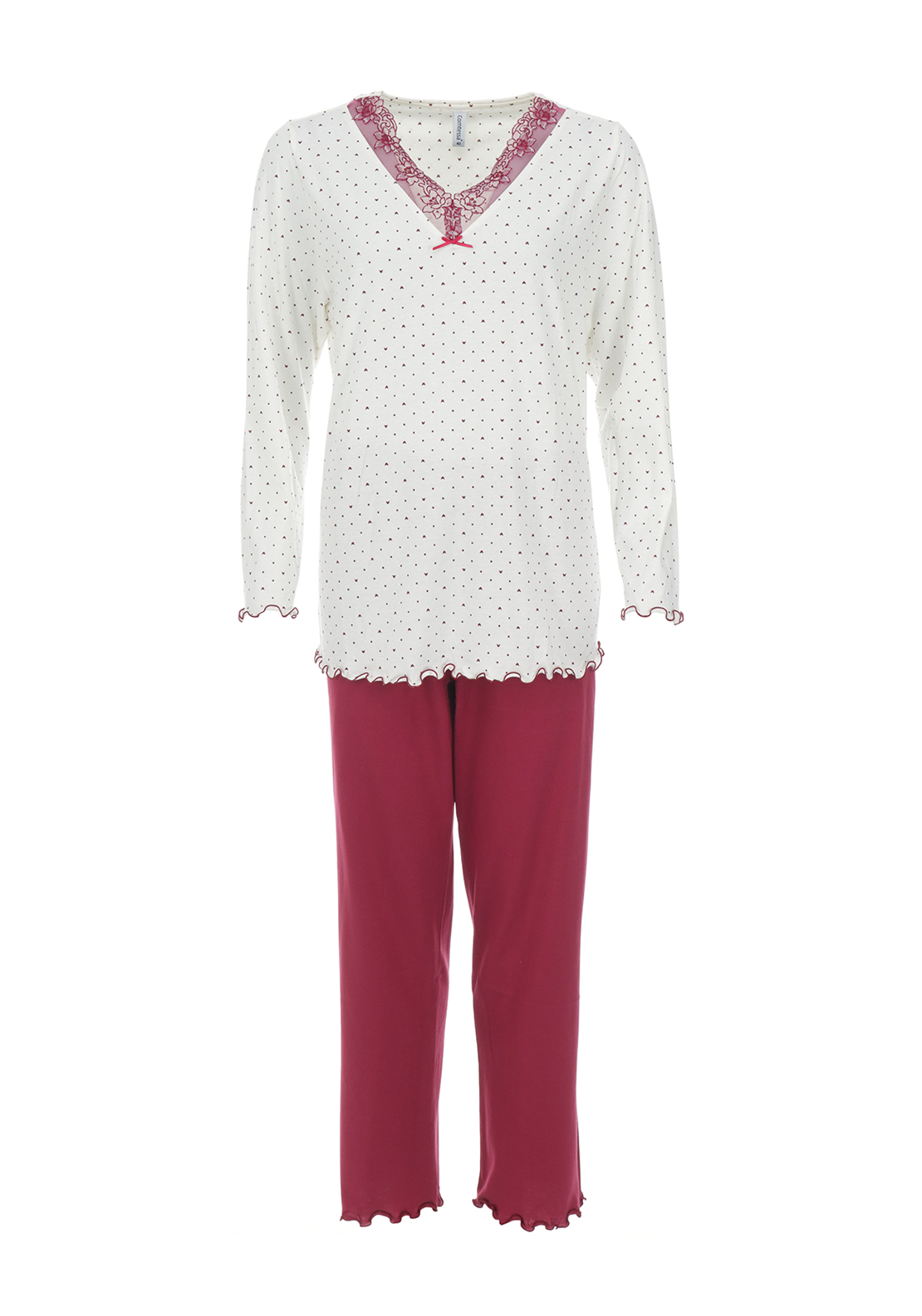 Comtessa Lace Trim Pyjama Set, Wine & Cream