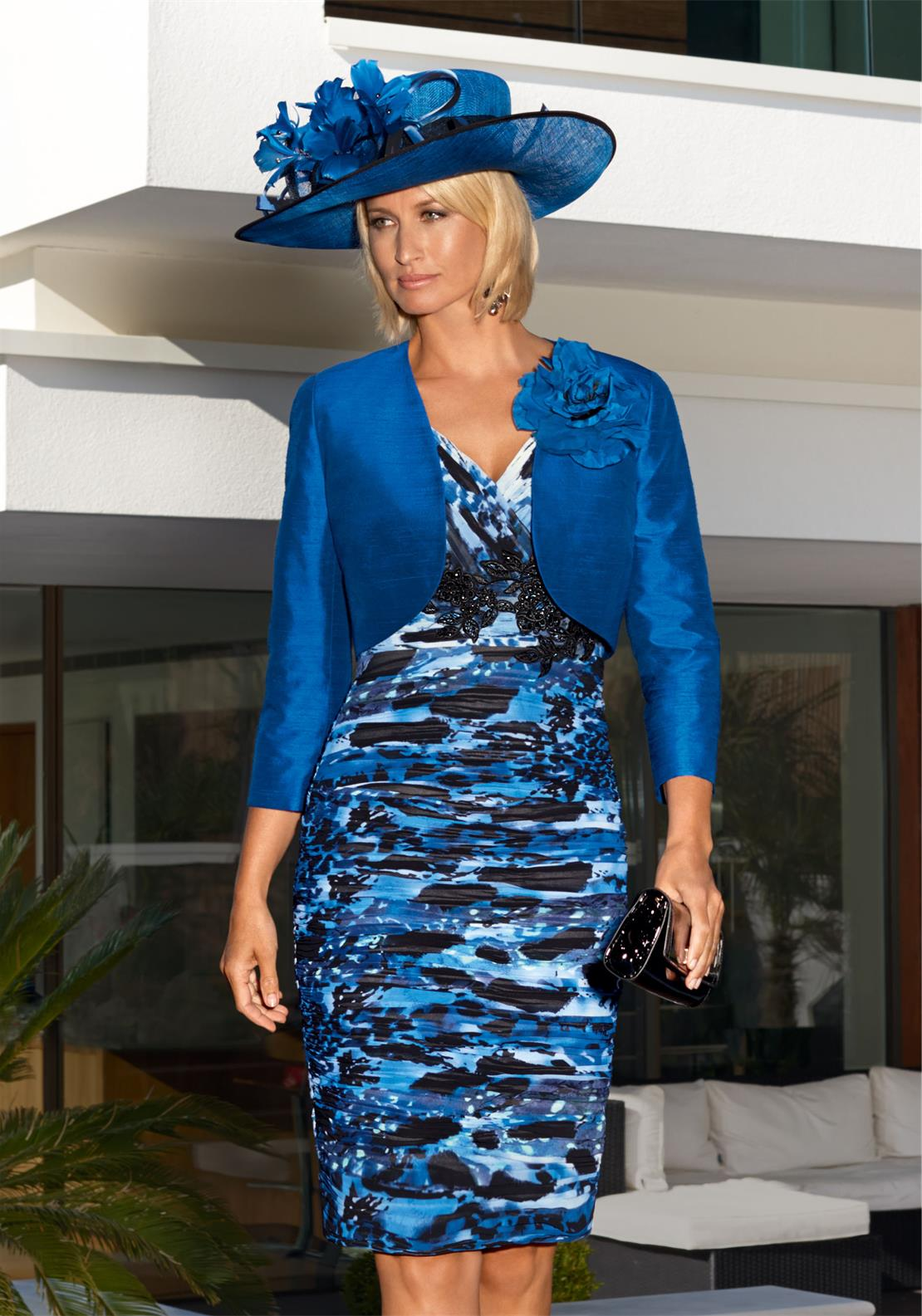 Condici Printed Dress and Bolero, Blue