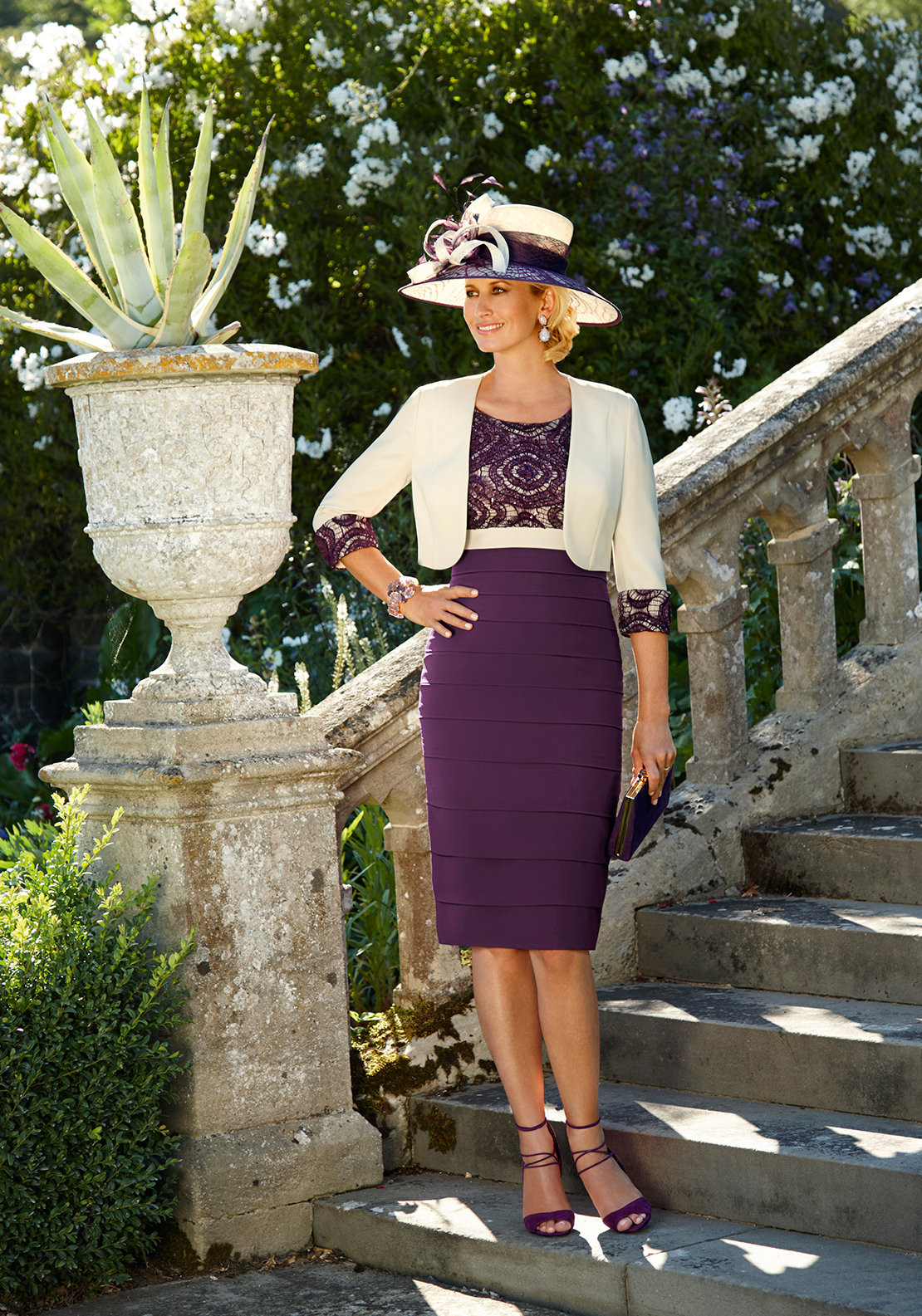 Condici Lace Trim Dress & Jacket Outfit, Purple & Cream
