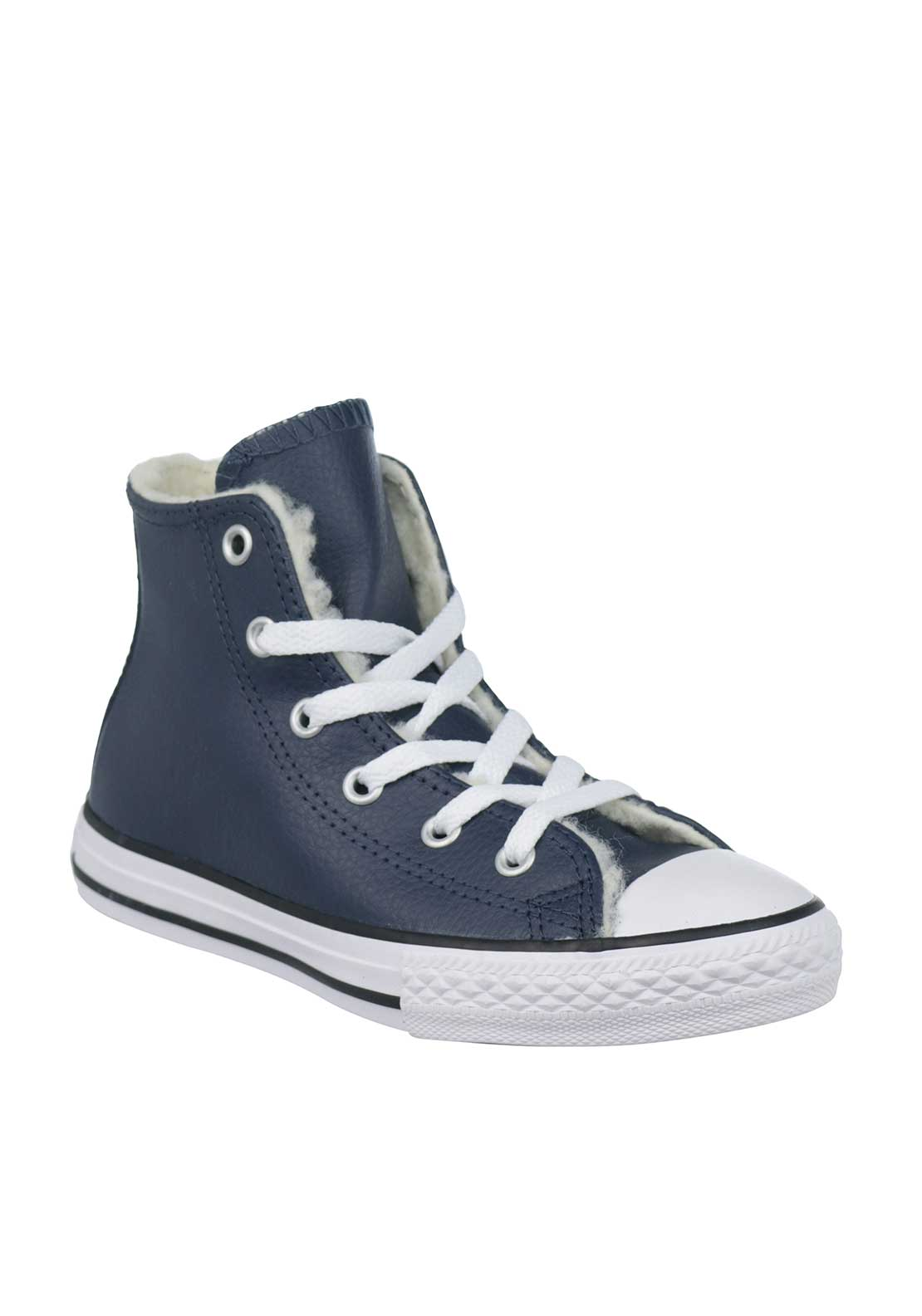 Converse Kids Leather Hi Top Trainers, Navy