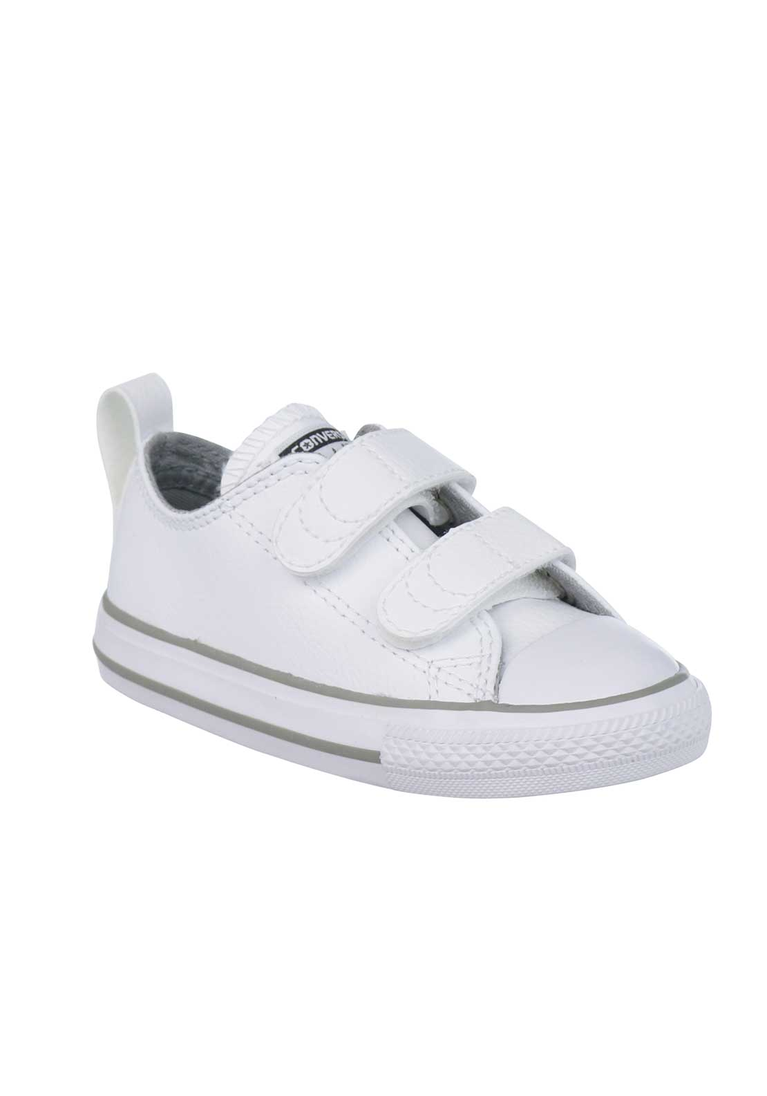 Converse Baby All Star Velcro Leather Trainers, White