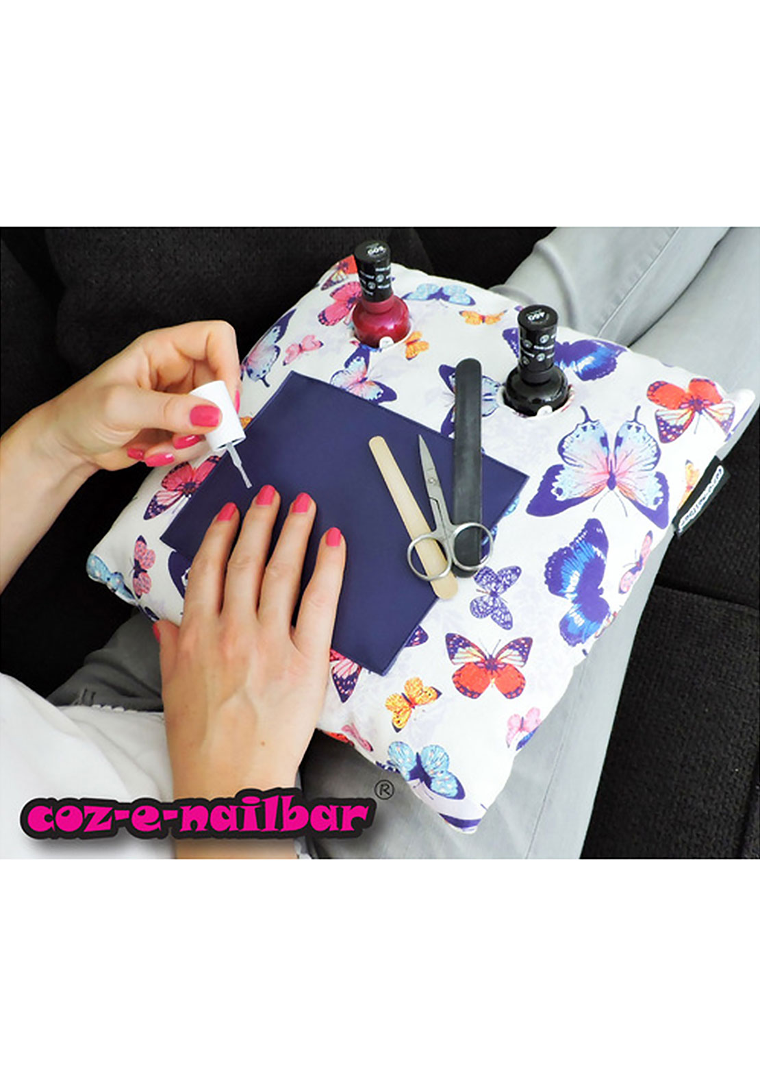 Coz-E-Nail bar Cushion, White, Pink & Purple