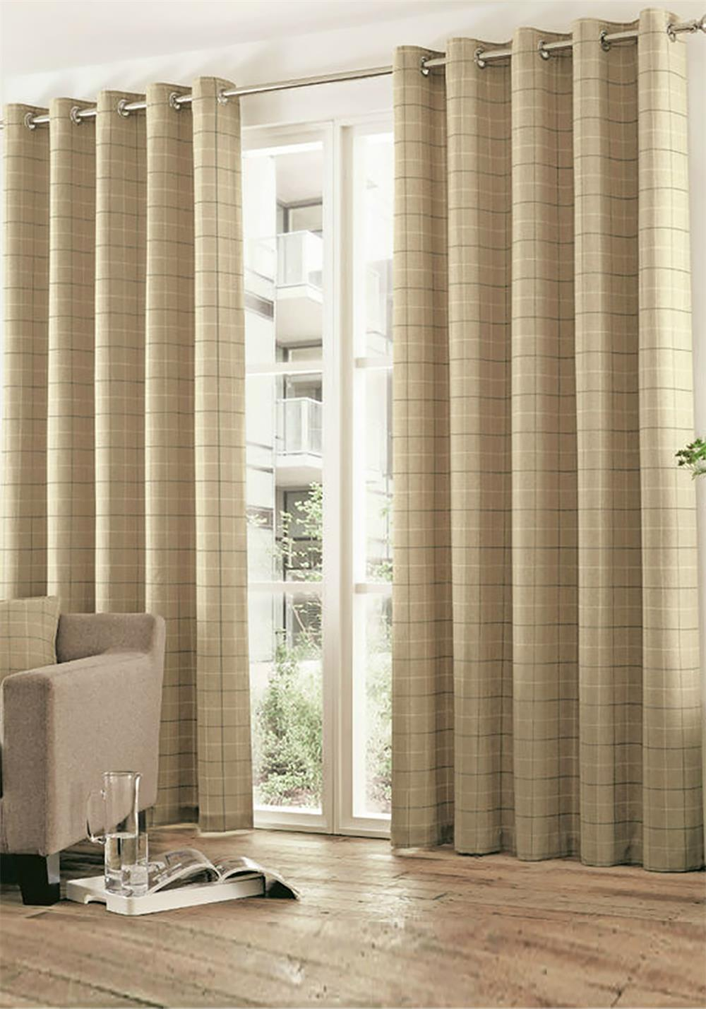 Curtina Braemar Check Fully Lined Eyelet Curtains, Natural
