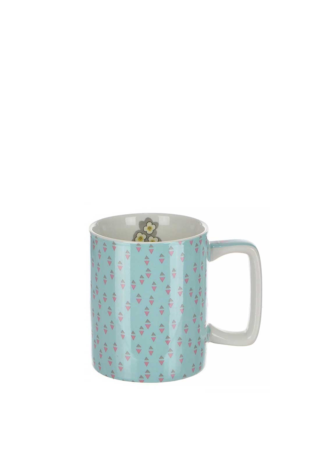 Katie Alice Pretty Retro Triangle Print Stoneware Mug, Pale Blue