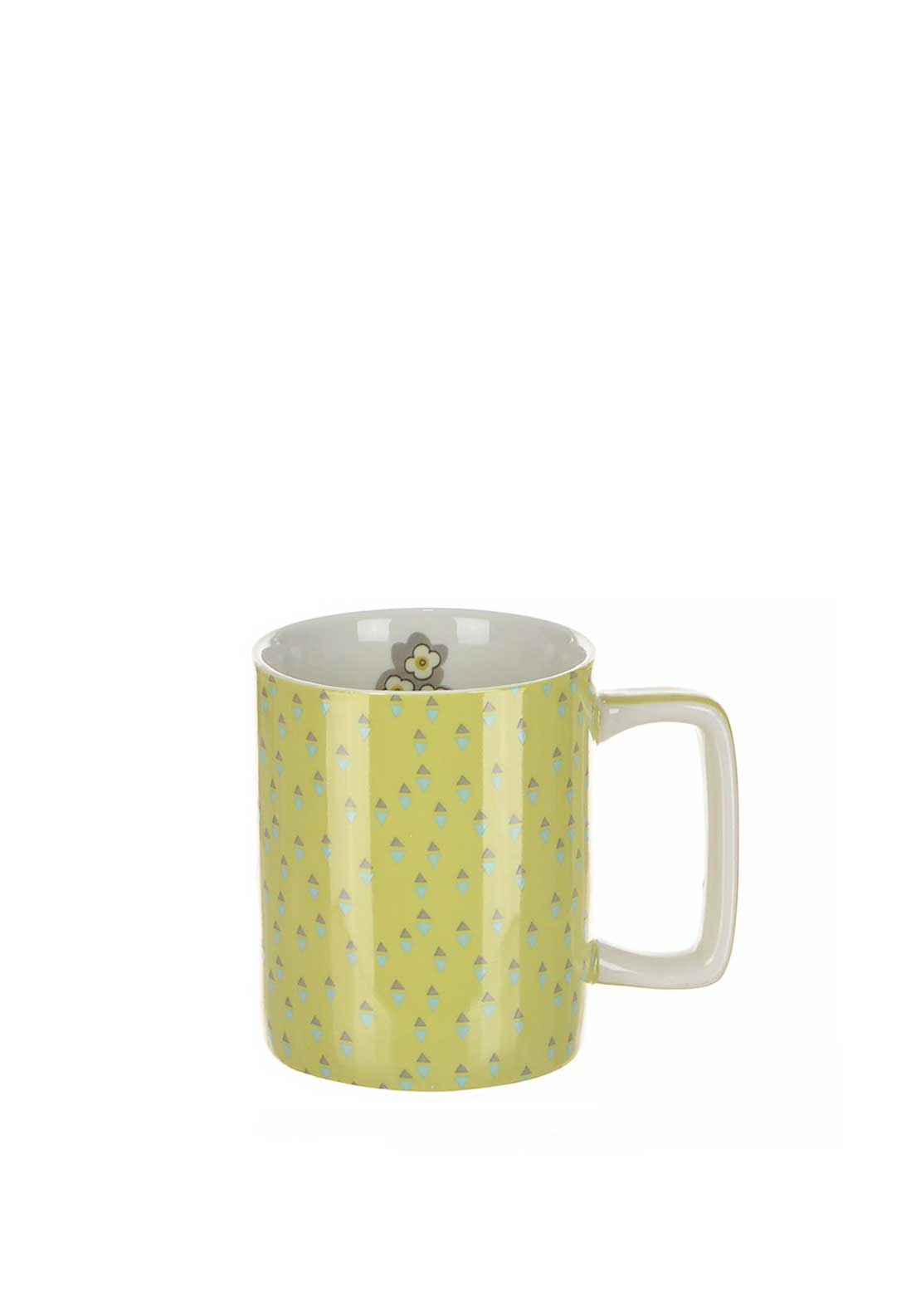 Katie Alice Pretty Retro Triangle Print Stoneware Mug, Lime Green
