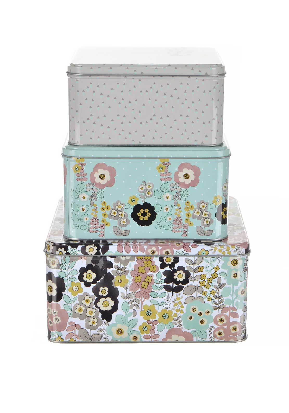 Katie Alice Pretty Retro Three Storage Tins, Multi-Coloured
