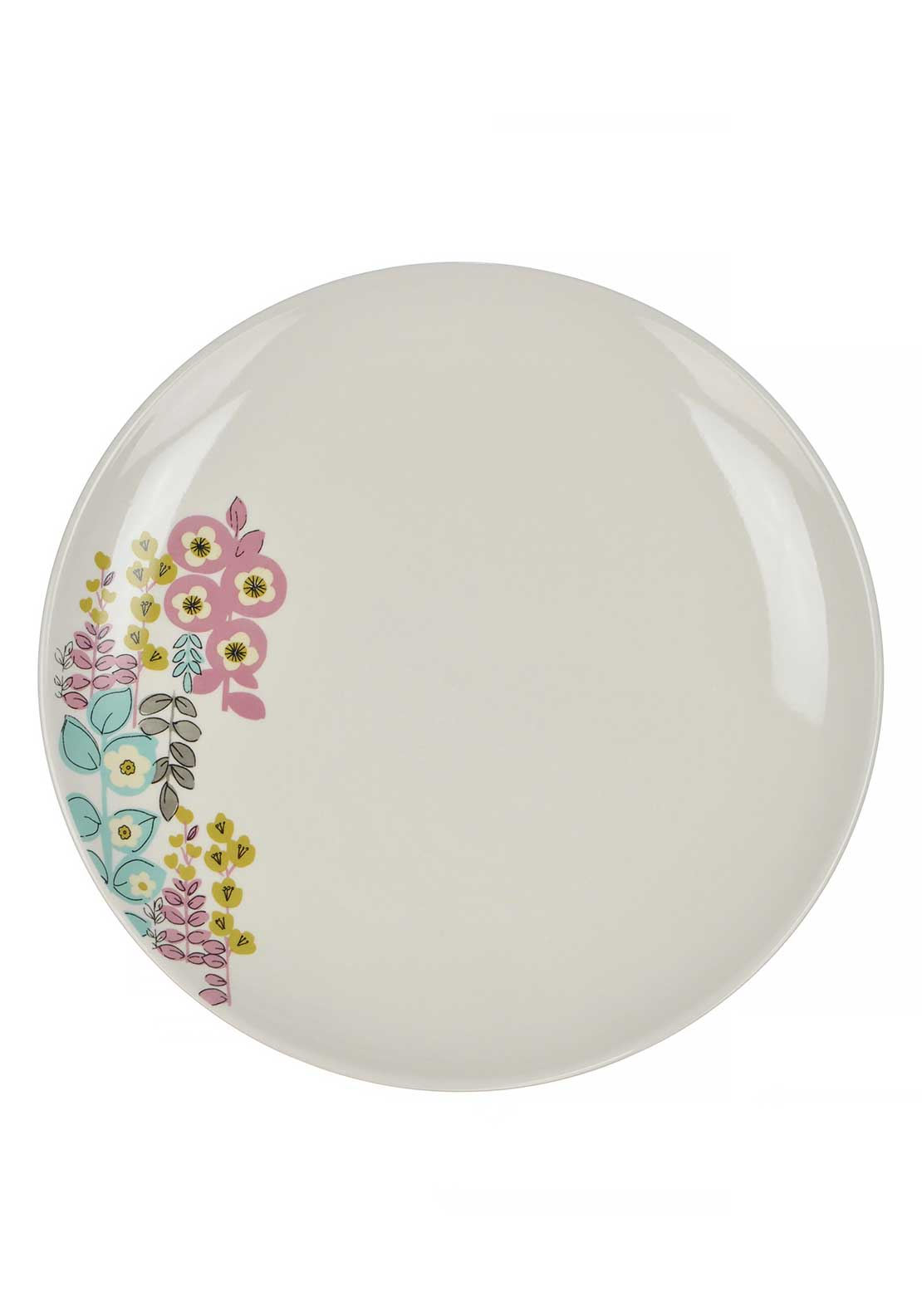 Katie Alice Pretty Retro Floral Print Dinner Plate, Cream Multi