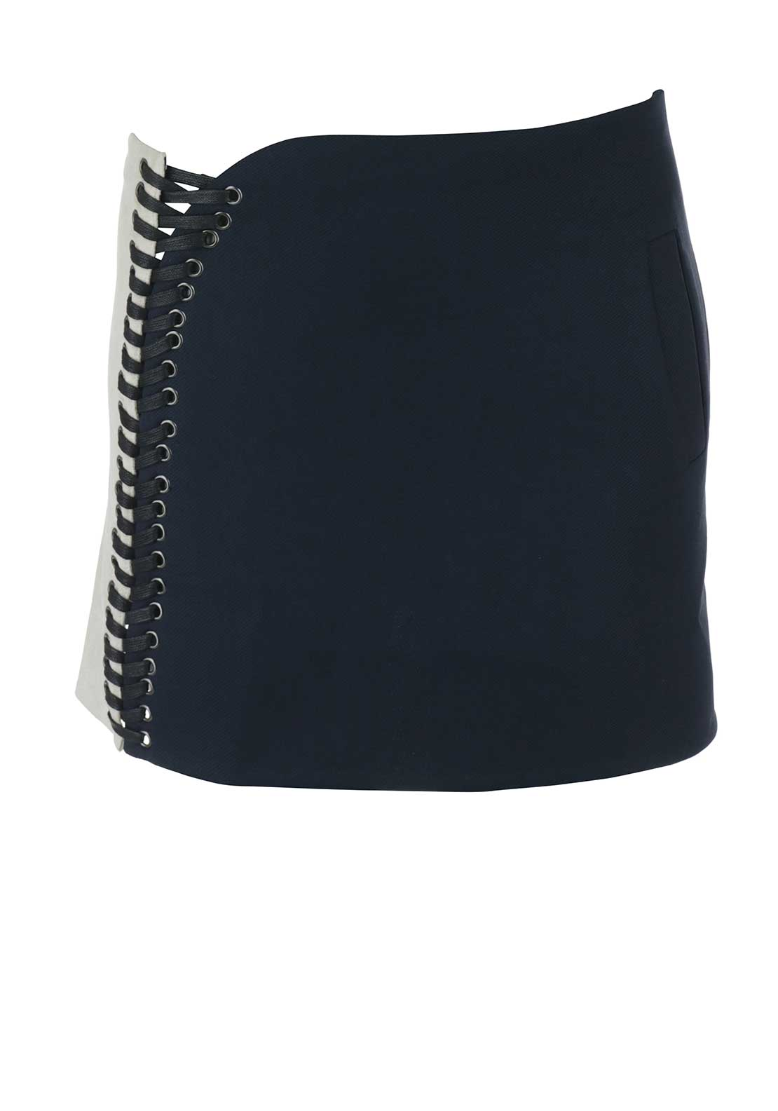Cubic Lace Eyelet Mini Skirt, Navy