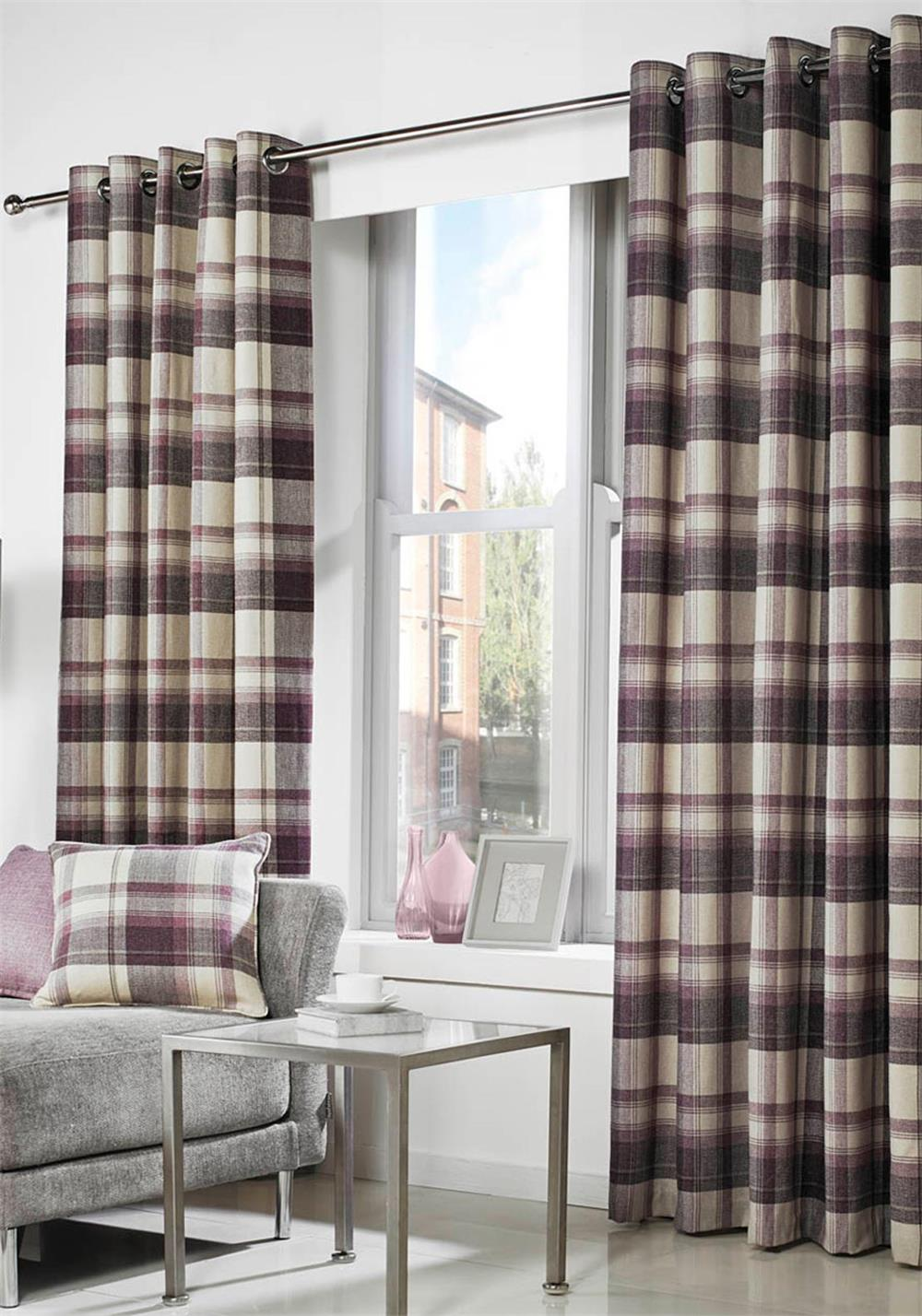 Curtina Belvedere Readymade Luxury Eyelet Curtains Fully Lined, Plum Check