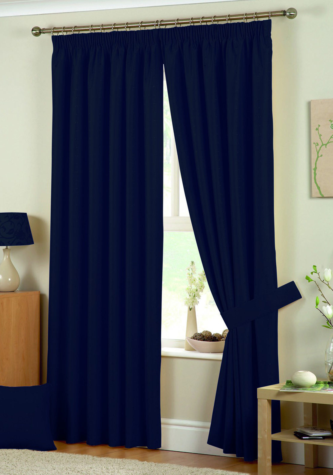 Curtina Hudson Fully Lined Curtains, Navy