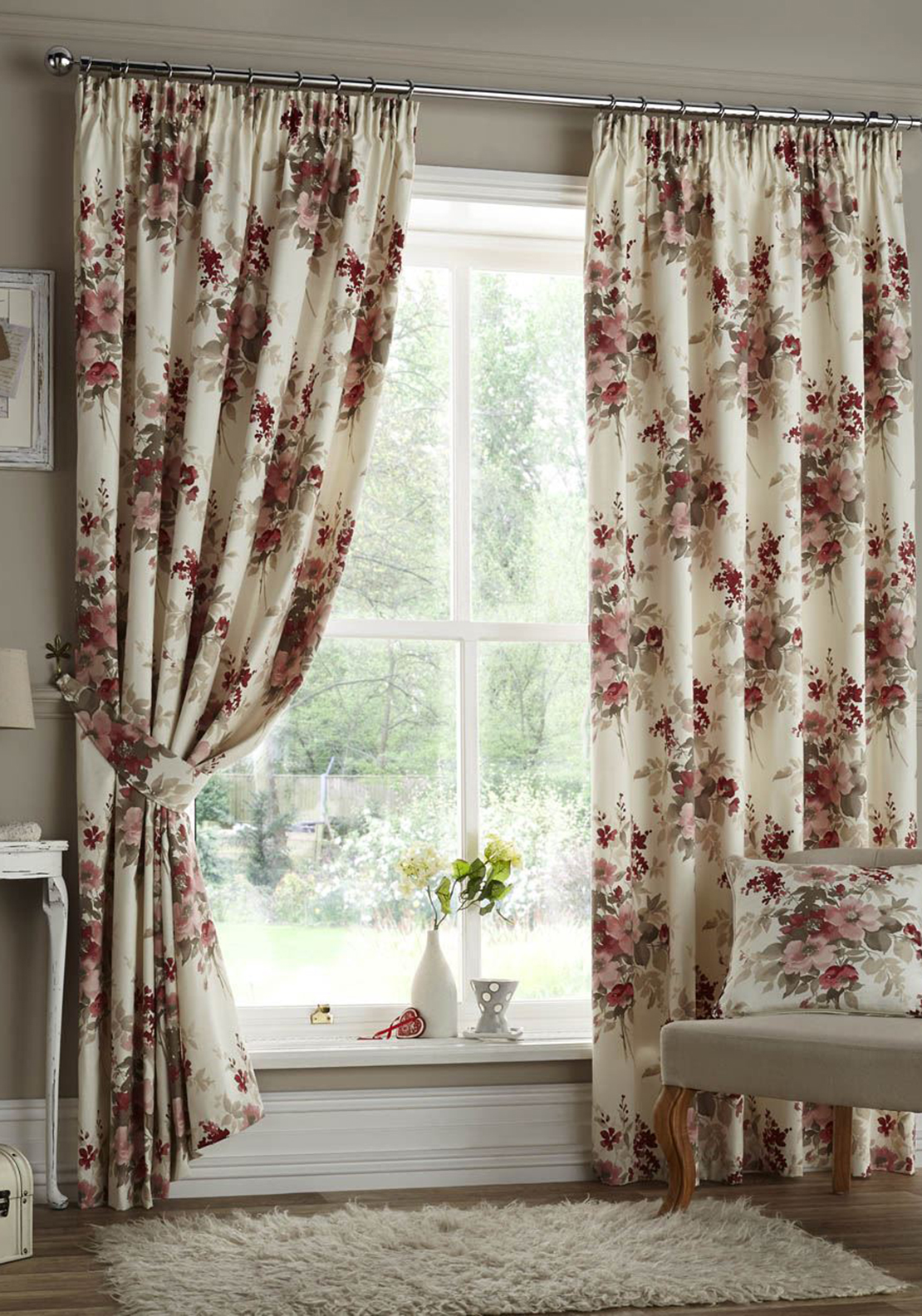 Curtina Milldale Floral Print Fully Lined Curtains, Red Multi