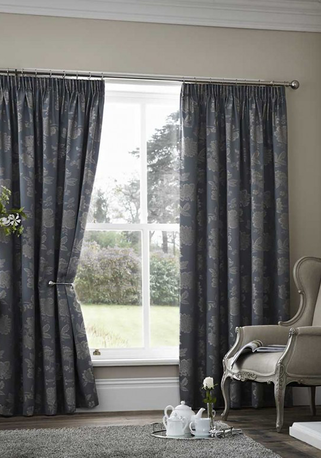 Curtina Palmero Thermal Black Out Curtains, Teal