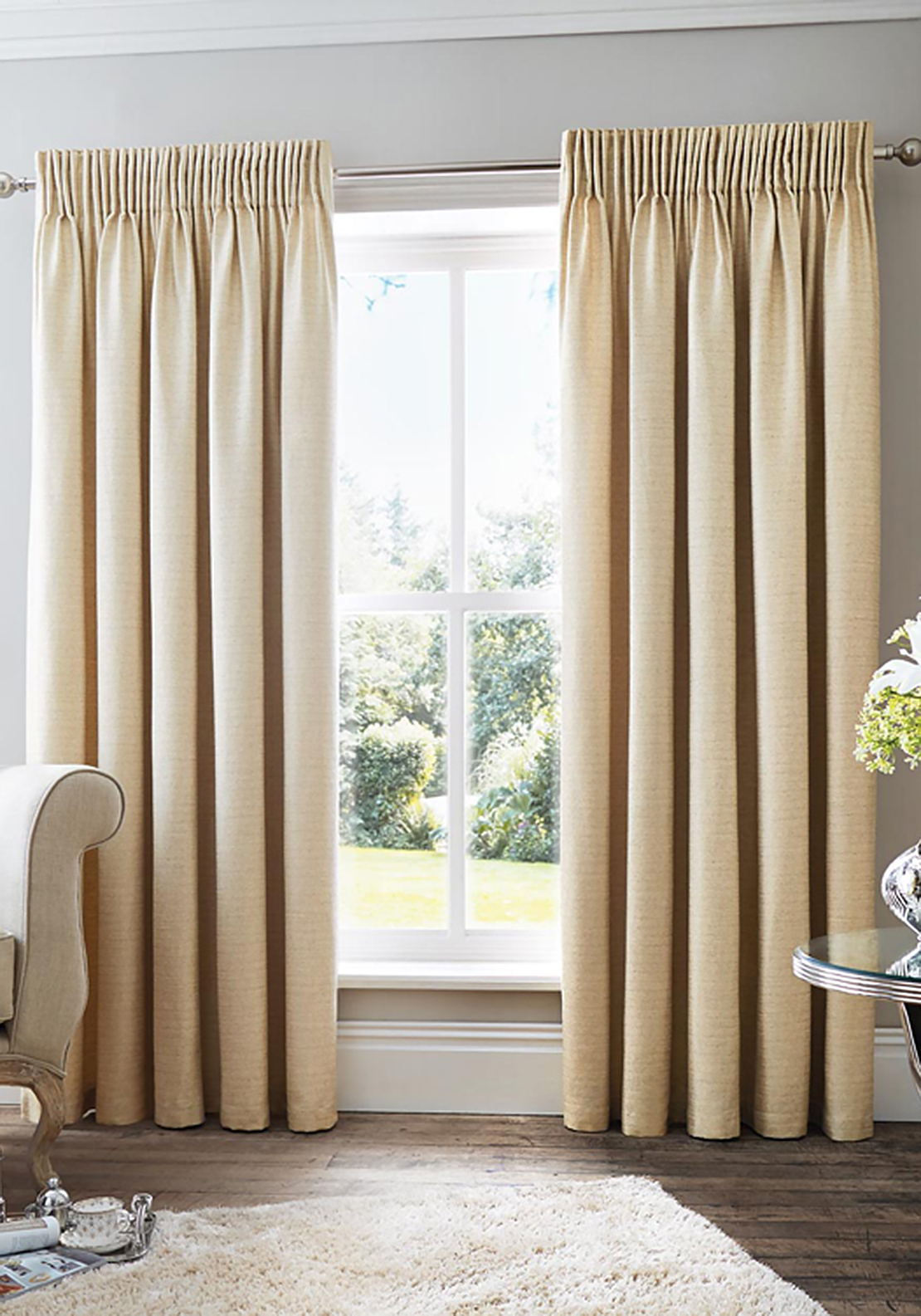 Curtina Rimini Fully Lined Curtains, Natural