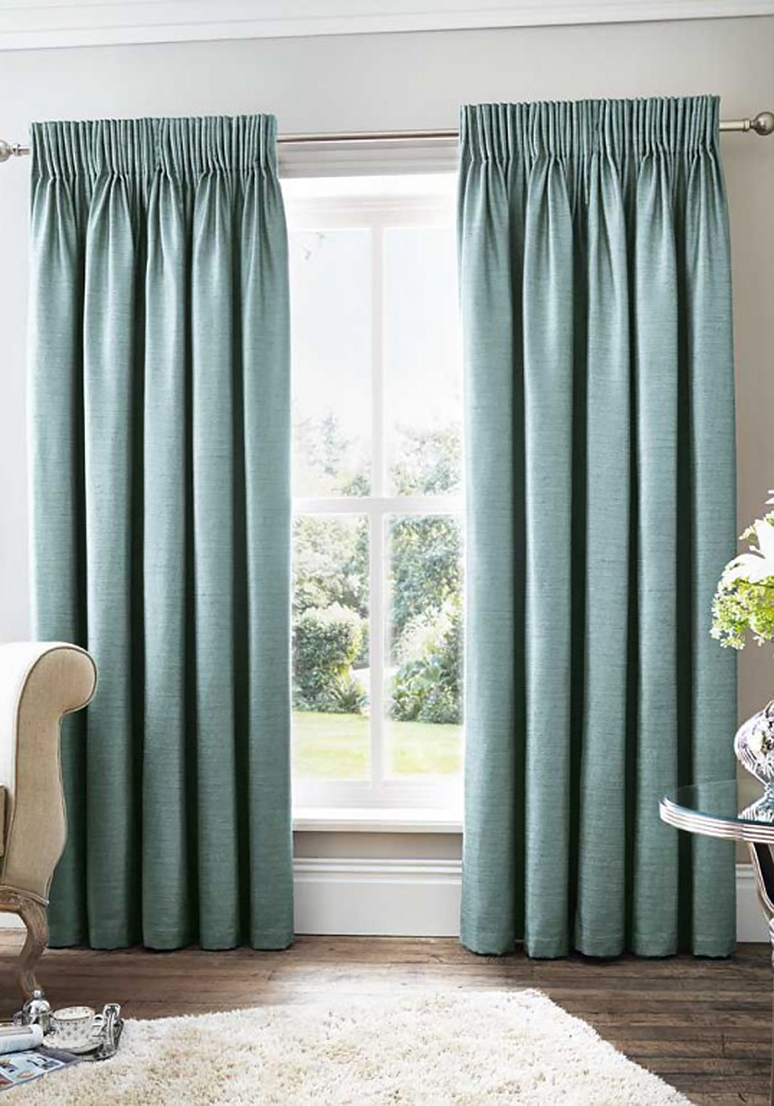 Curtina Rimini Fully Lined Curtains, Teal