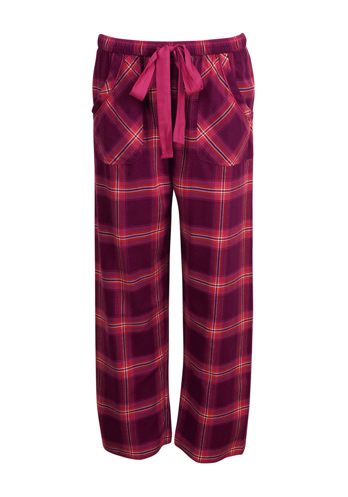 Cyberjammies Deck The Halls Checked Pyjama Bottoms, Wine
