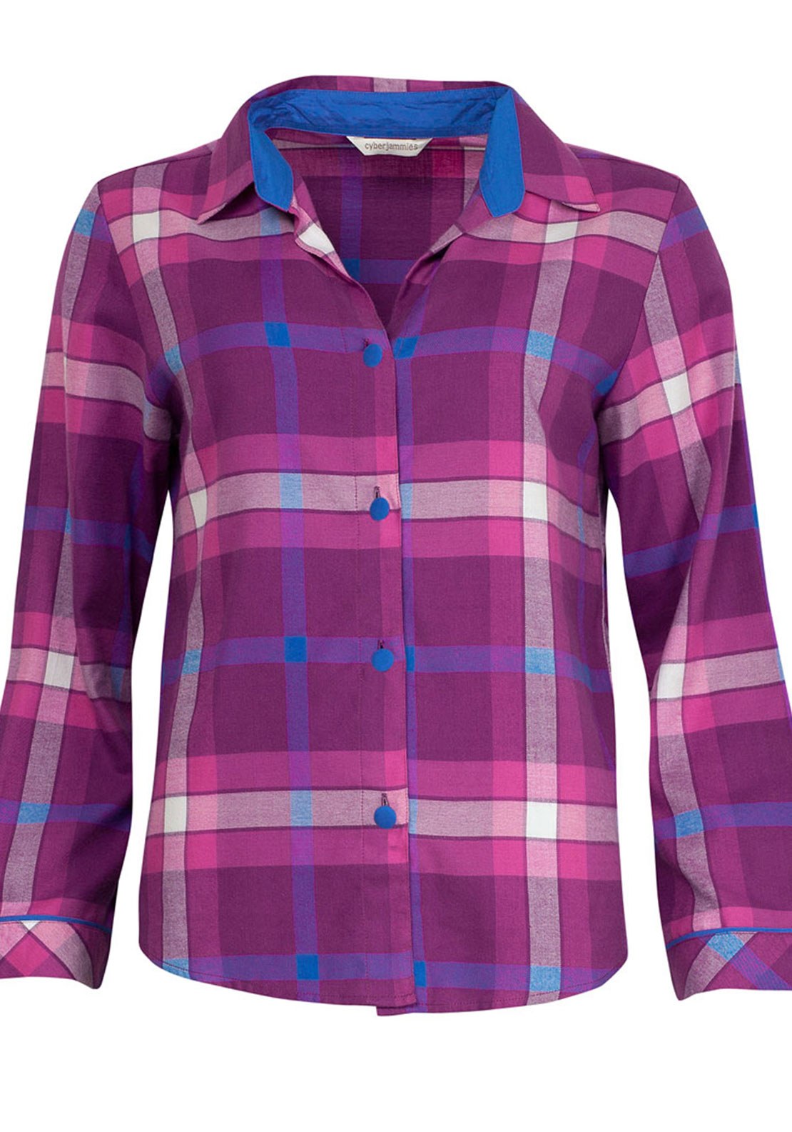 Cyberjammies Magenta Madness Checked Pyjama Top, Magenta Pink