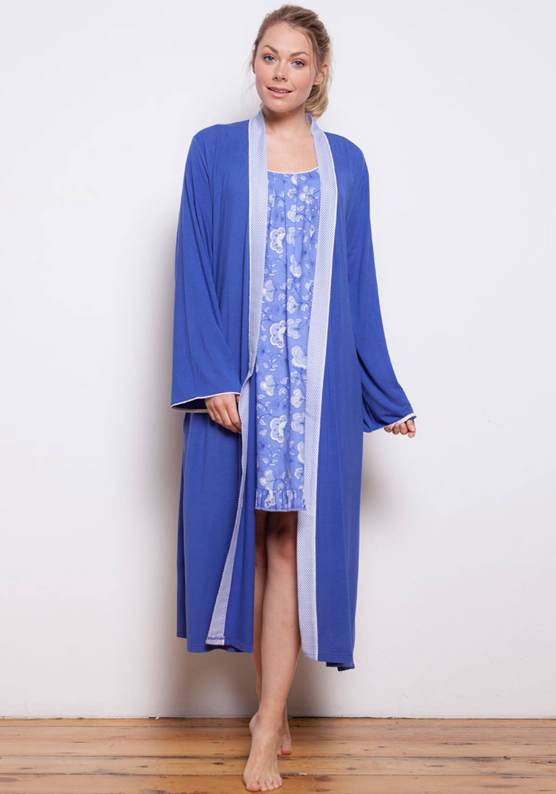 Cyberjammies Vienna Knit Wrap Dressing Gown, Blue