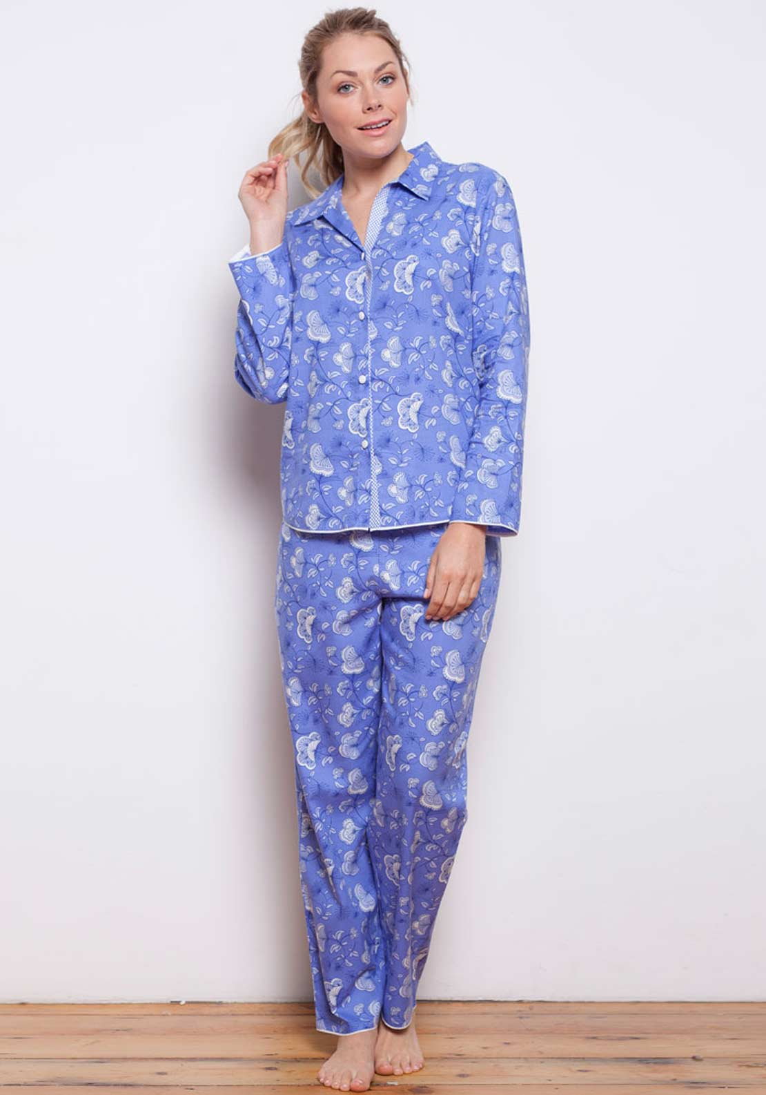 Cyberjammies Vienna Woven Floral Pyjama Bottoms, Blue