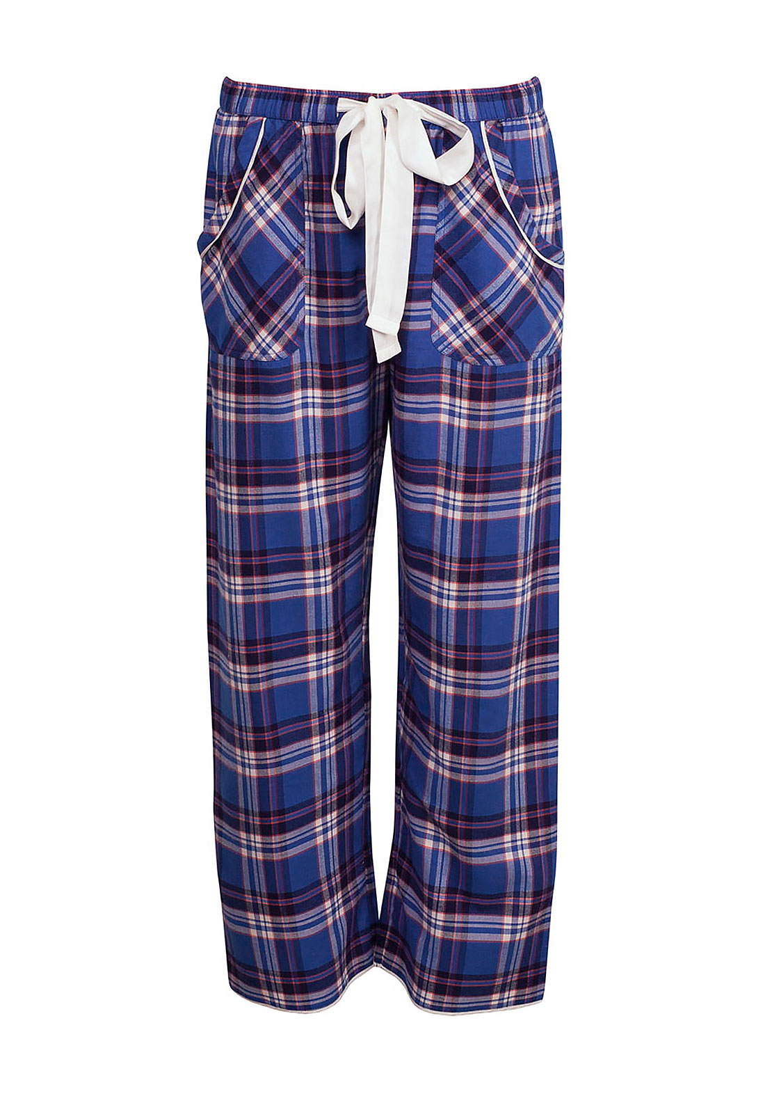 Cyberjammies Winter Flower Checked Pyjama Bottoms, Dark Blue