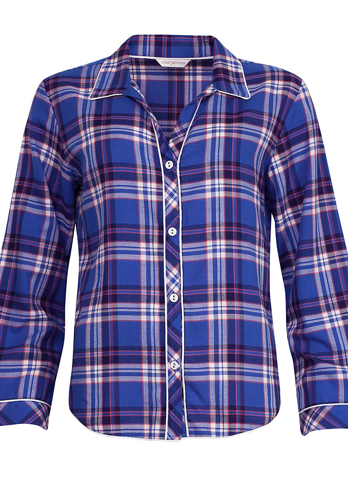 Cyberjammies Winter Flower Checked Pyjama Top, Dark Blue