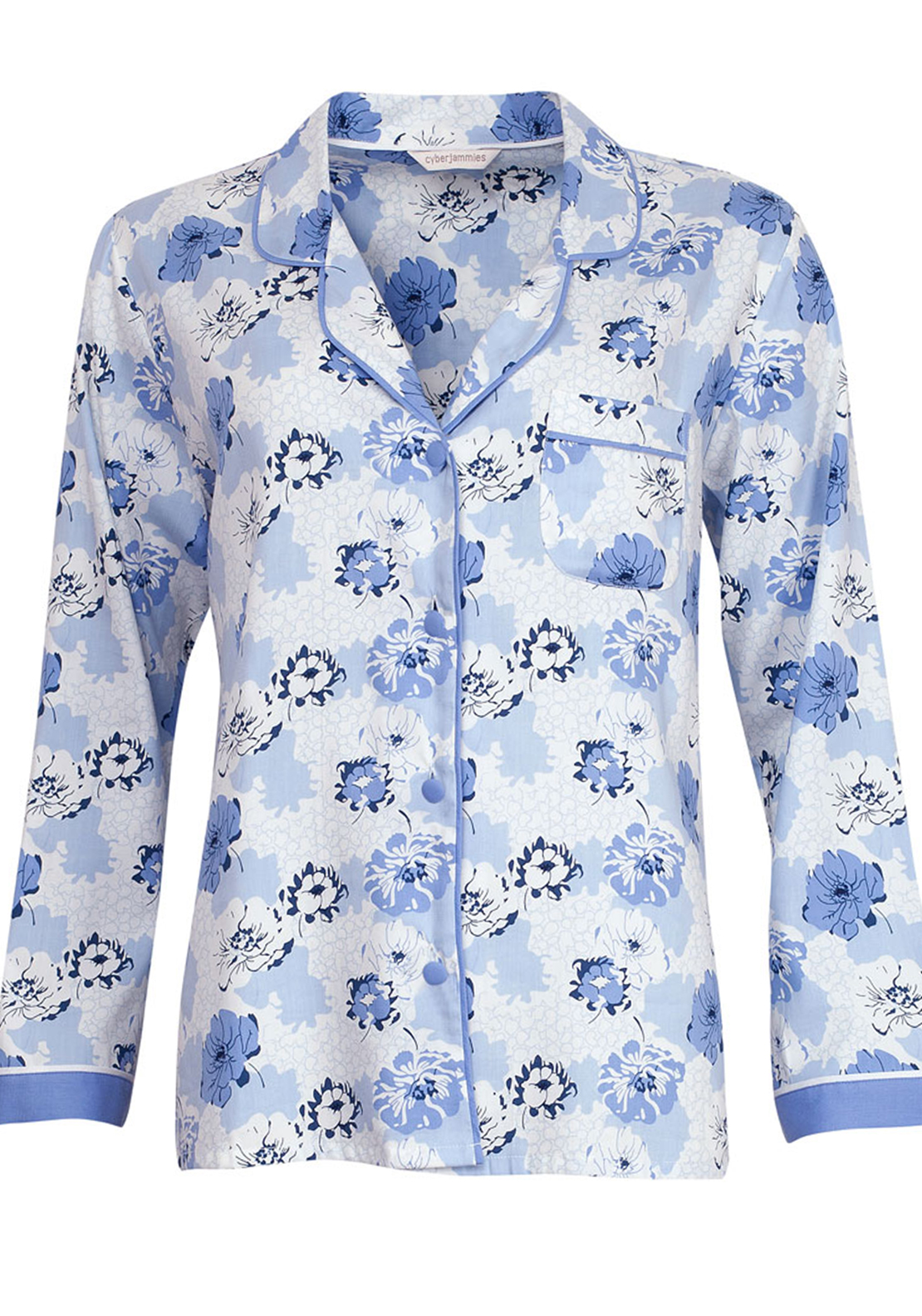 Cyberjammies Porcelain Doll Floral Print Pyjama Top, Blue