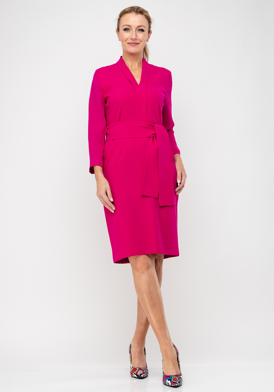 Daisy May V-Neck Belted Pencil Dress, Cerise Pink