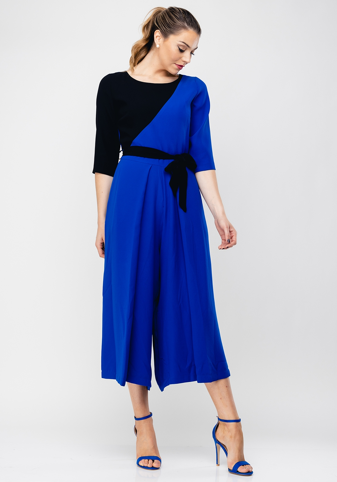 Daisy May Colour Block Culotte Jumpsuit, Royal Blue