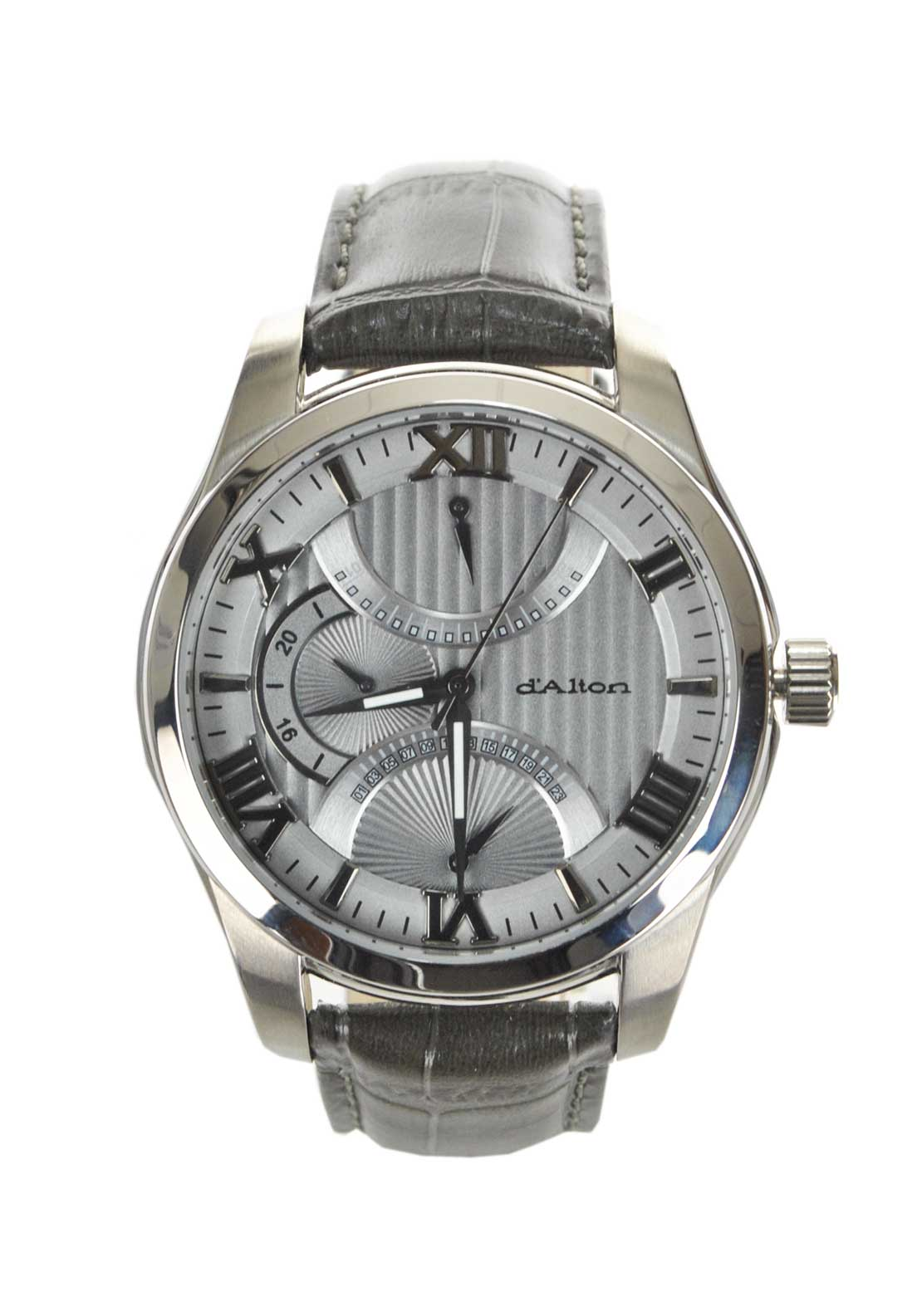 D'Alton Mens Large Silver Tone Watch with leather strap, Taupe