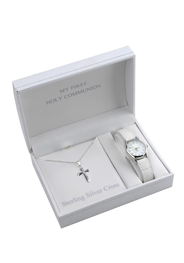 D'alton My First Holy Communion Sterling Silver Cross Chain & Watch Set