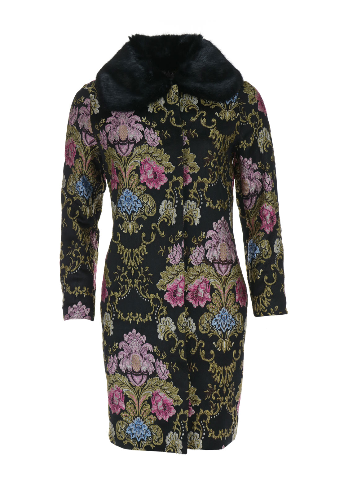 Darling Hepburn Brocade Coat, Black Multi