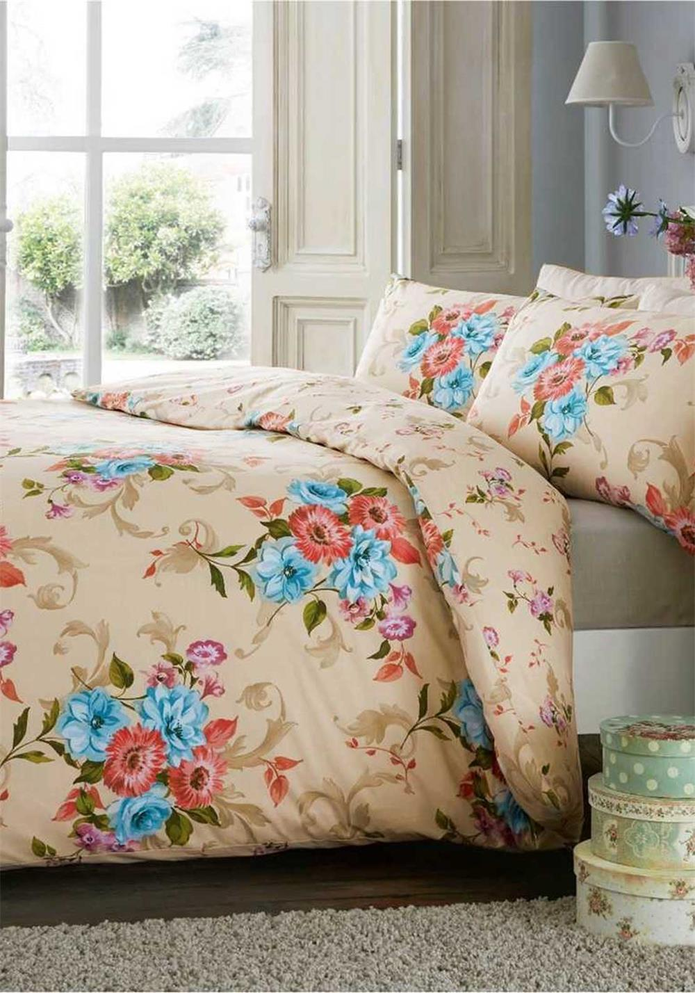 De Cama Ella Floral Print Duvet Cover Set, Multi-Coloured