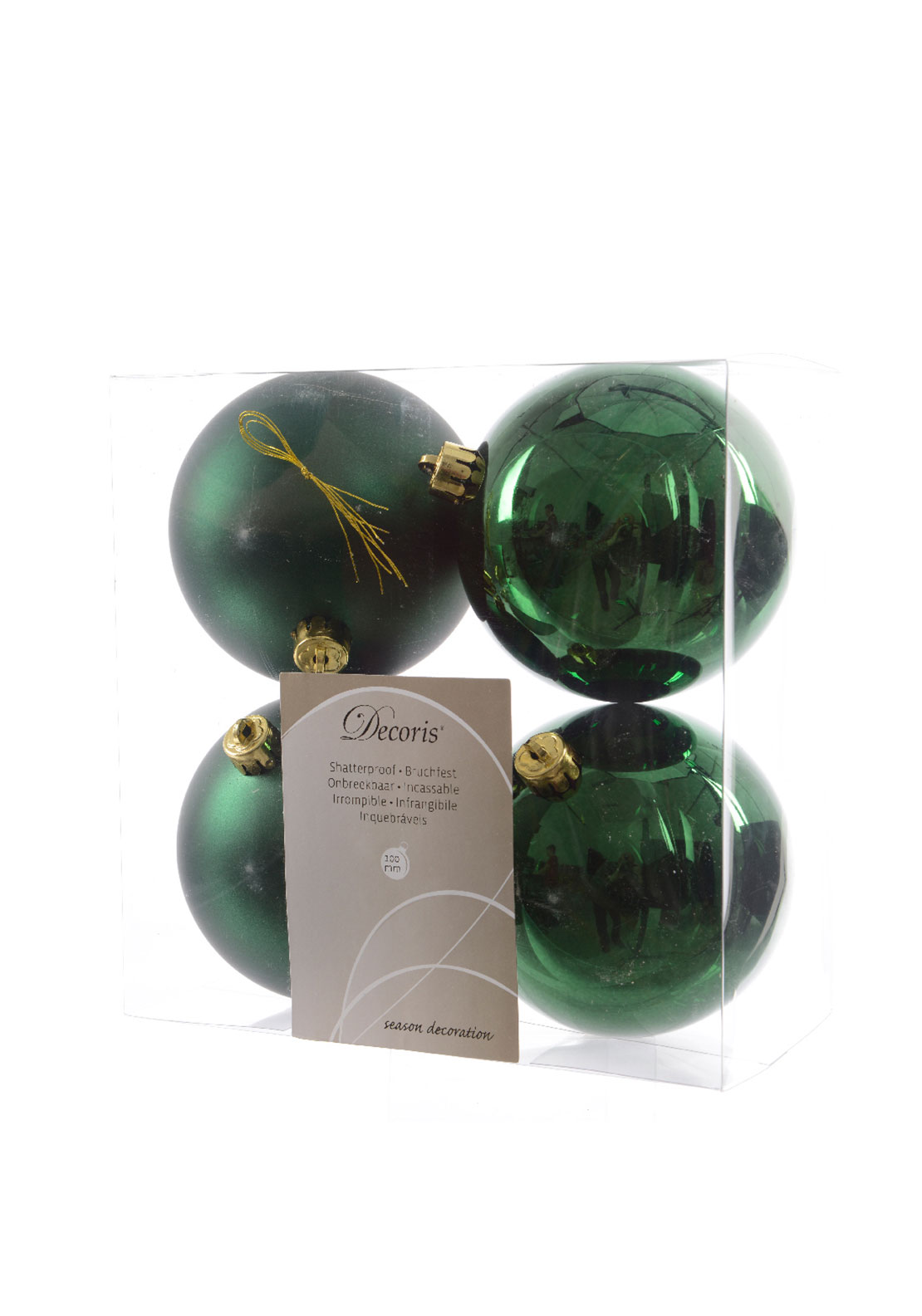 Christmas Tree Green Baubles Decorations Large 4Pack