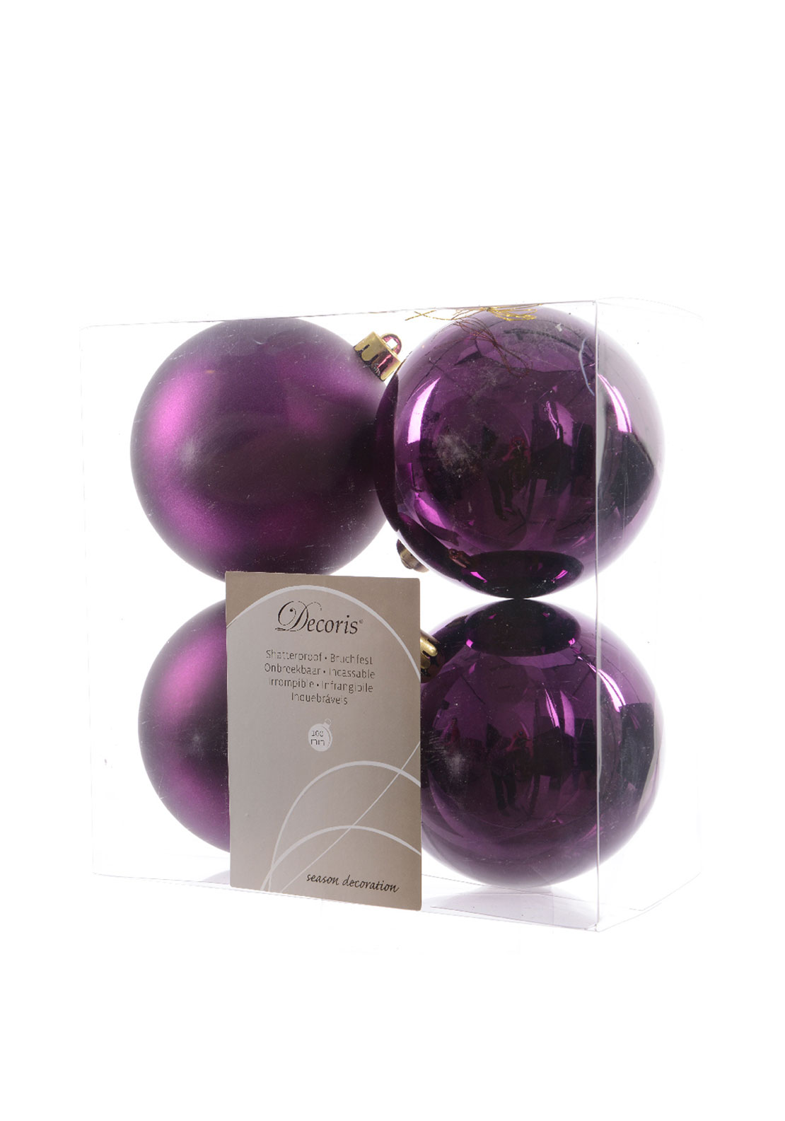 Christmas Tree Purple Baubles Decorations Large 4Pack
